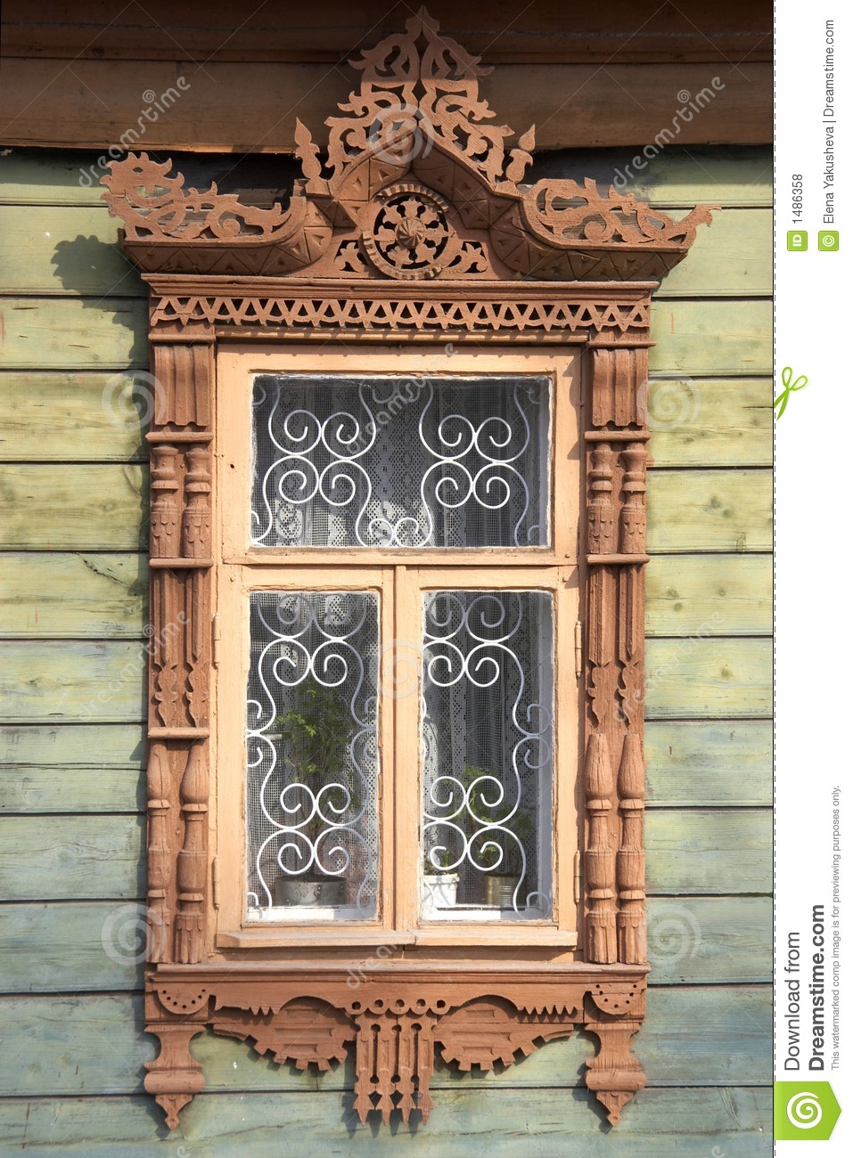 Carved Wooden Window Frame Royalty Free Stock Photos