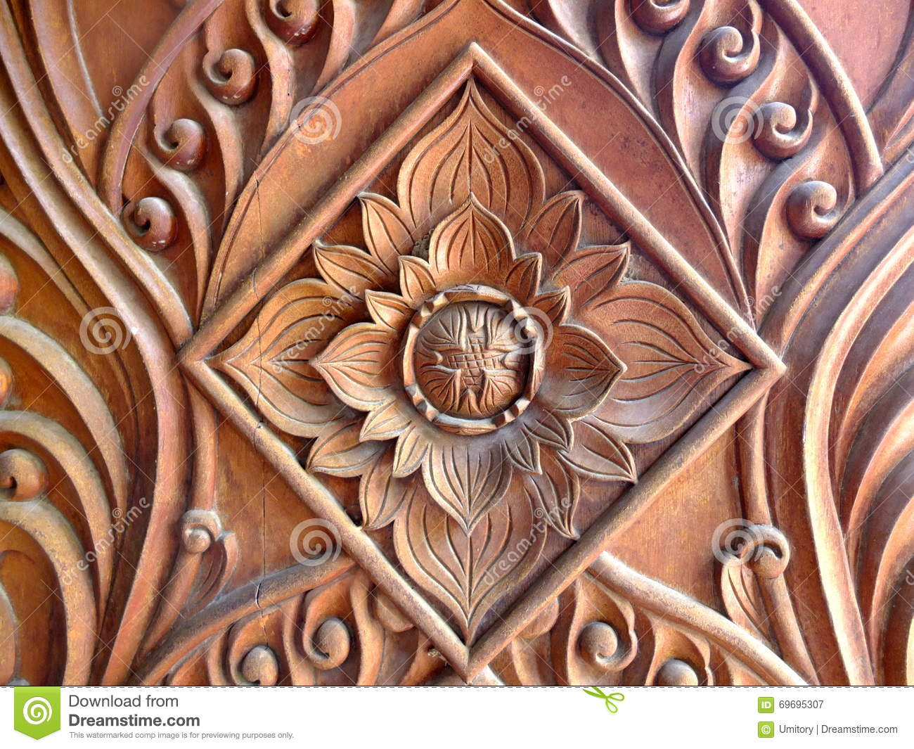The carving flower patterns of khmer vam ray temple in vietnam