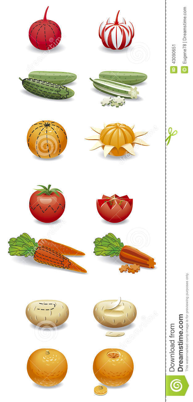 Carving fruits and vegetables.