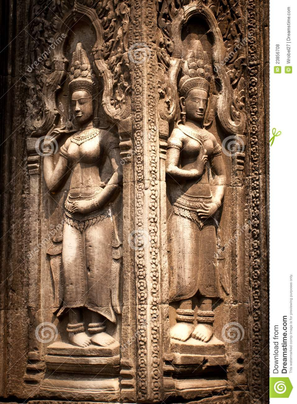 Carvings on the wall angkor wat cambodia royalty free