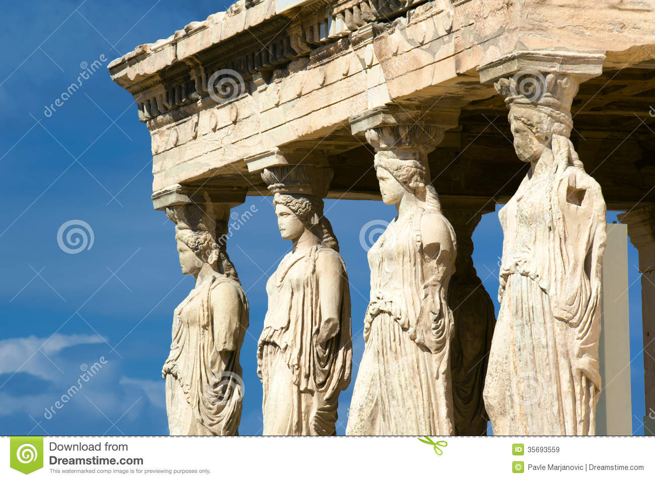Caryatid Sculptures, Acropolis Of Athens, Greece Royalty Free Stock ...