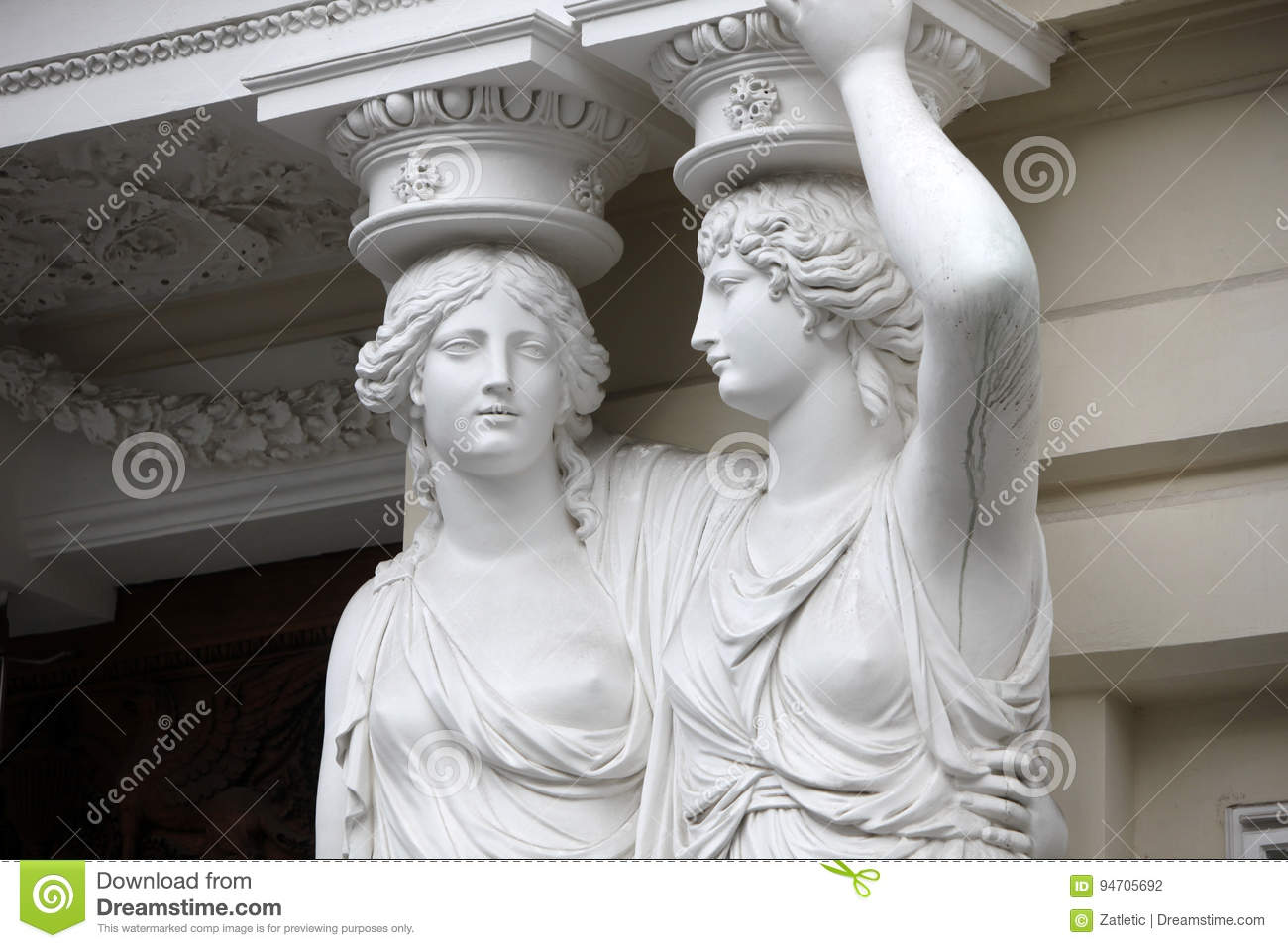caryatid statues of two young women in vienna stock photo image