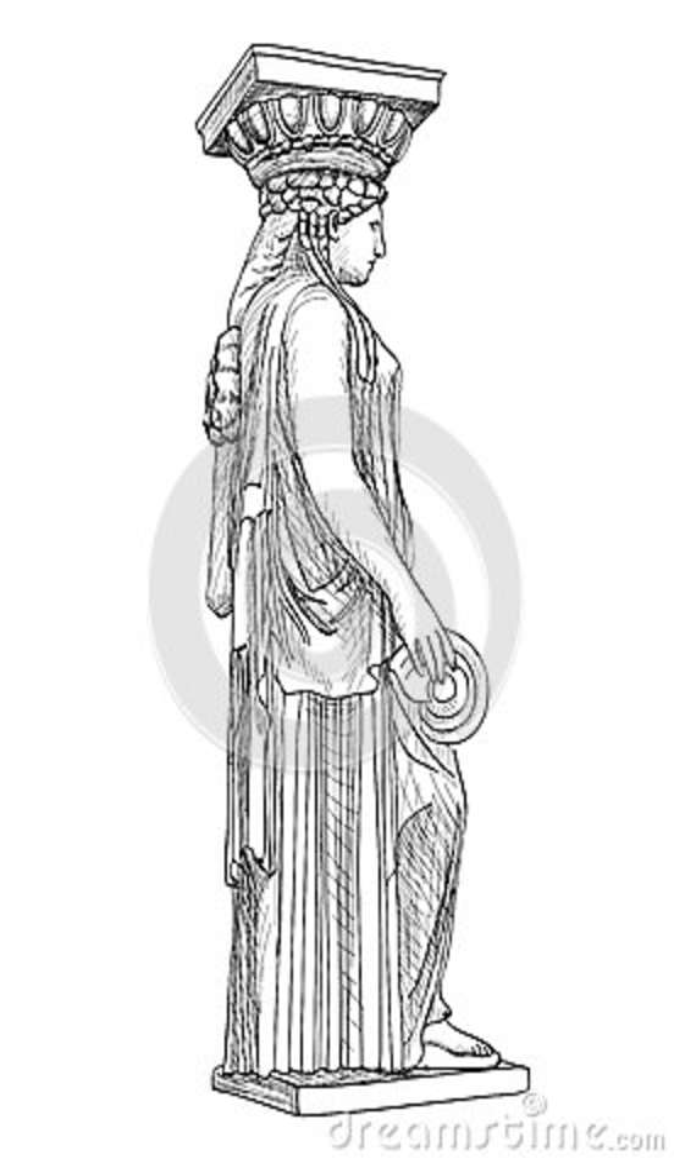 Caryatidessqulpture Pantheonkolom, Athene, Griekenland