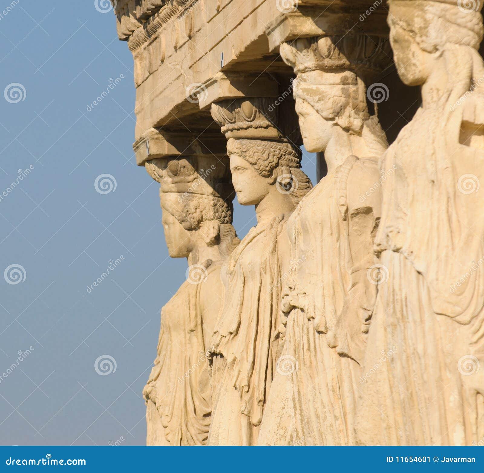 Caryatids, акрополь, athens