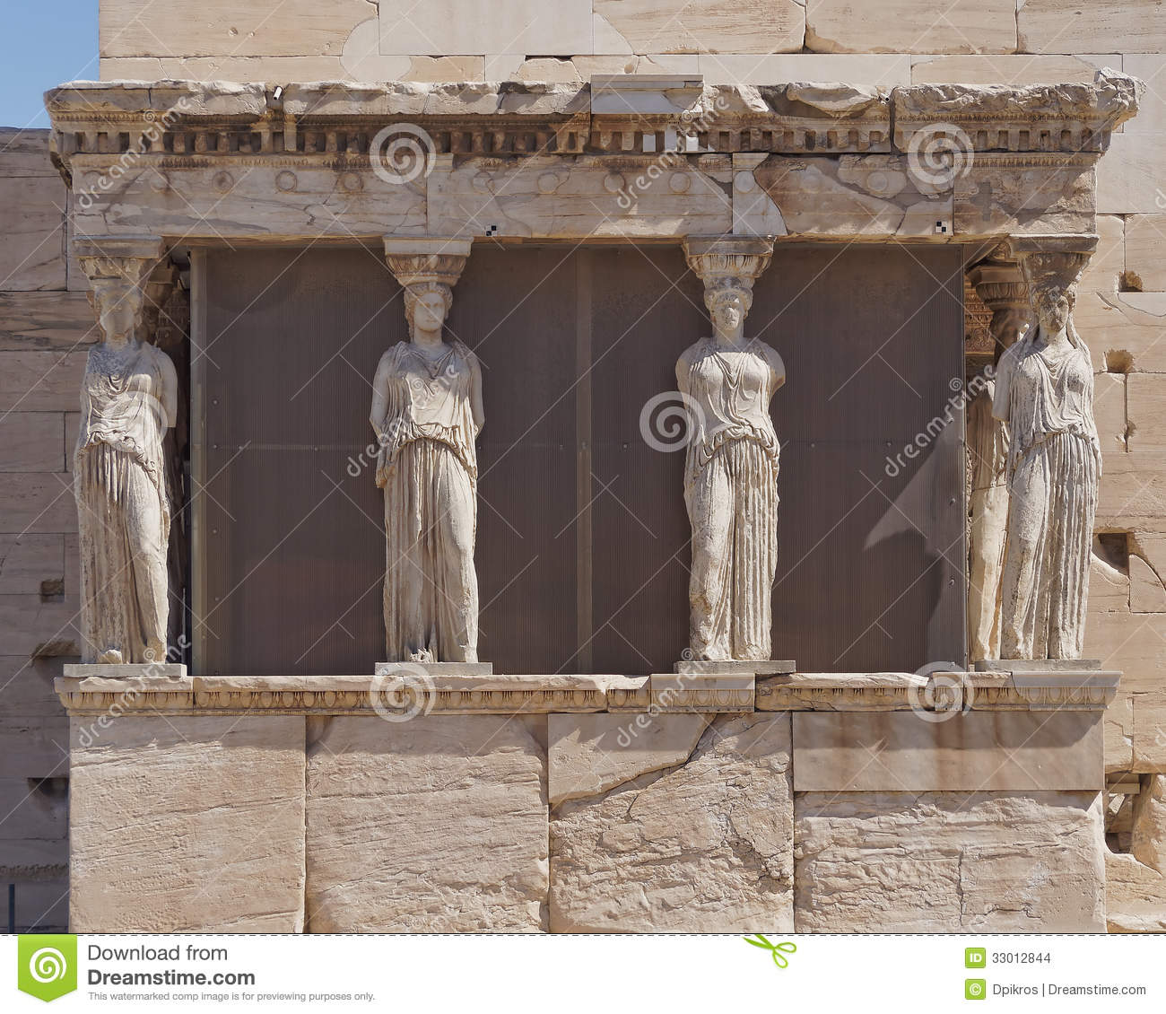 caryatids young women statues erechtheion temple stock
