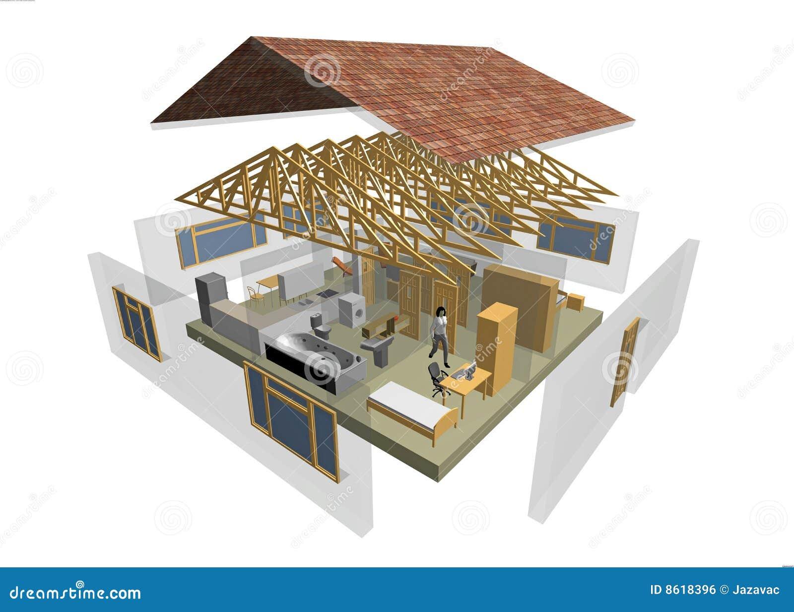 Casa 3d Immagine Stock Libera Da Diritti Immagine 8618396