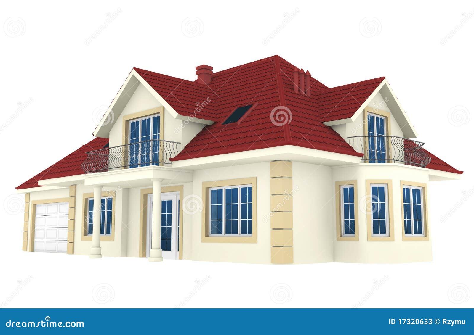 Casa 3d aislada en el fondo blanco fotos de archivo for Casas 3d