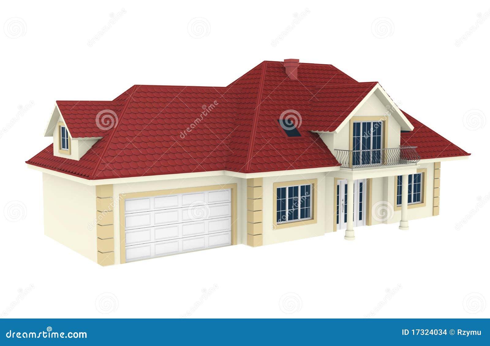 Casa 3d aislada en el fondo blanco imagenes de archivo for Casas 3d