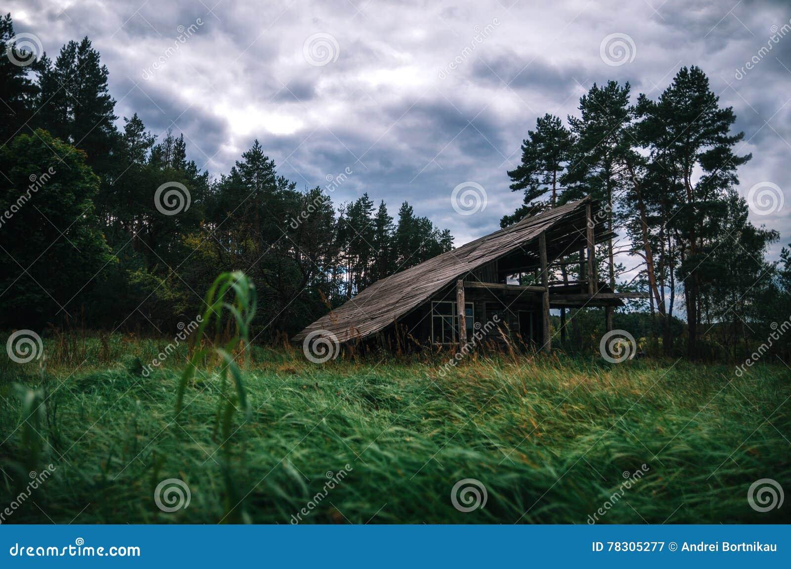 Casa abandonada de madera fantasmagórica en bosque espeluznante en el crepúsculo