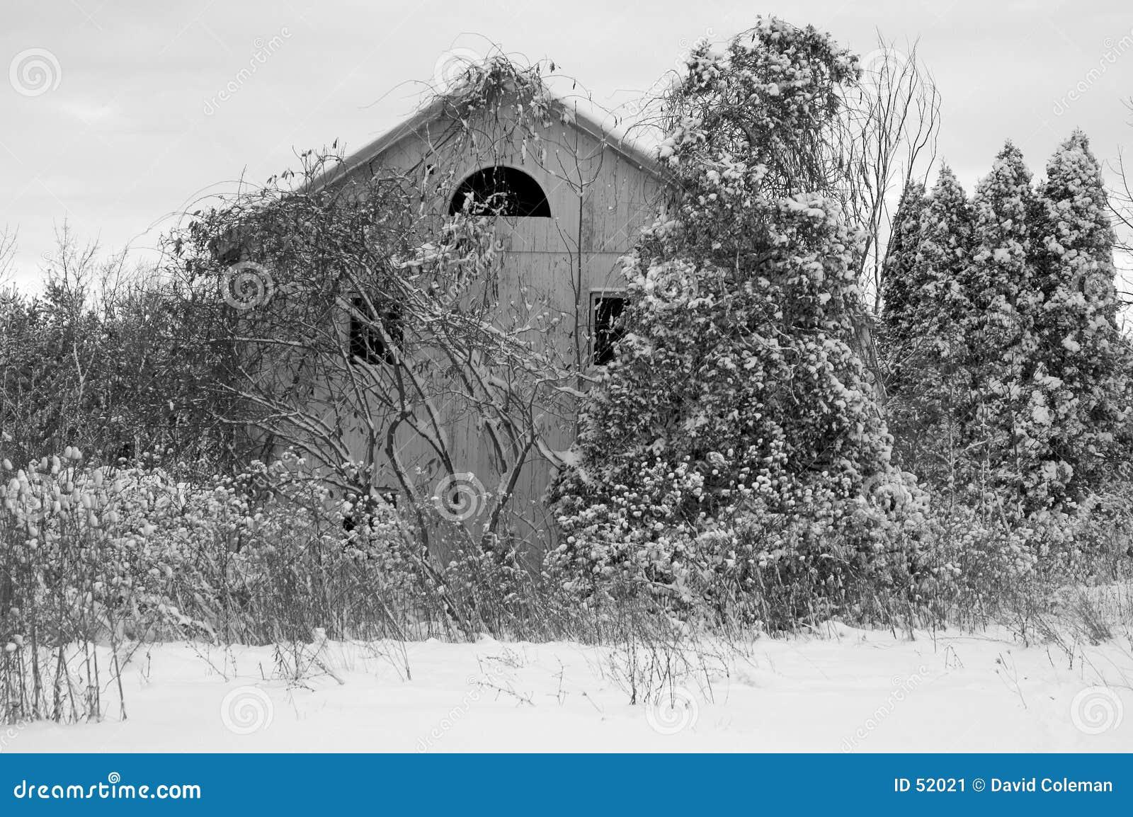 Casa abandonada en nieve