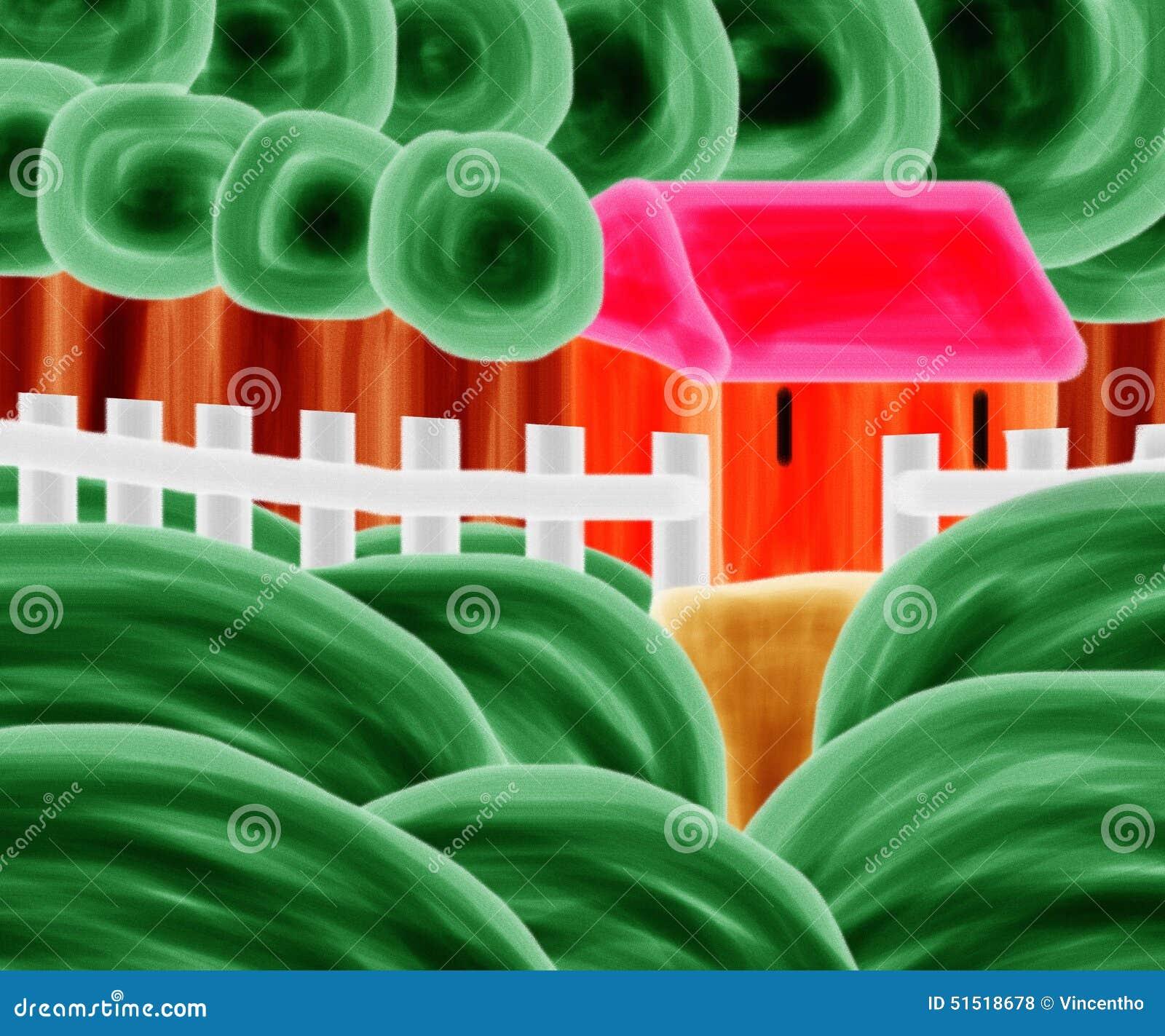 Casa alaranjada Forest Watermelon Painting Artwork