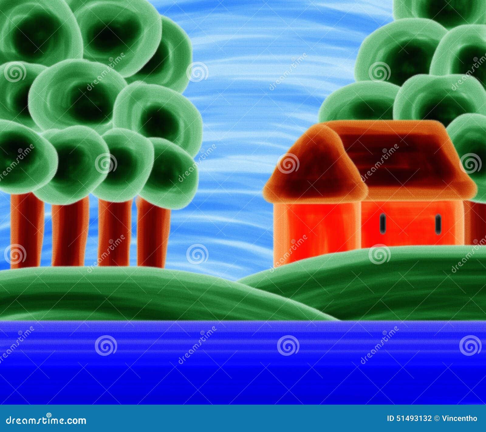 Casa alaranjada pela pintura acrílica do lago