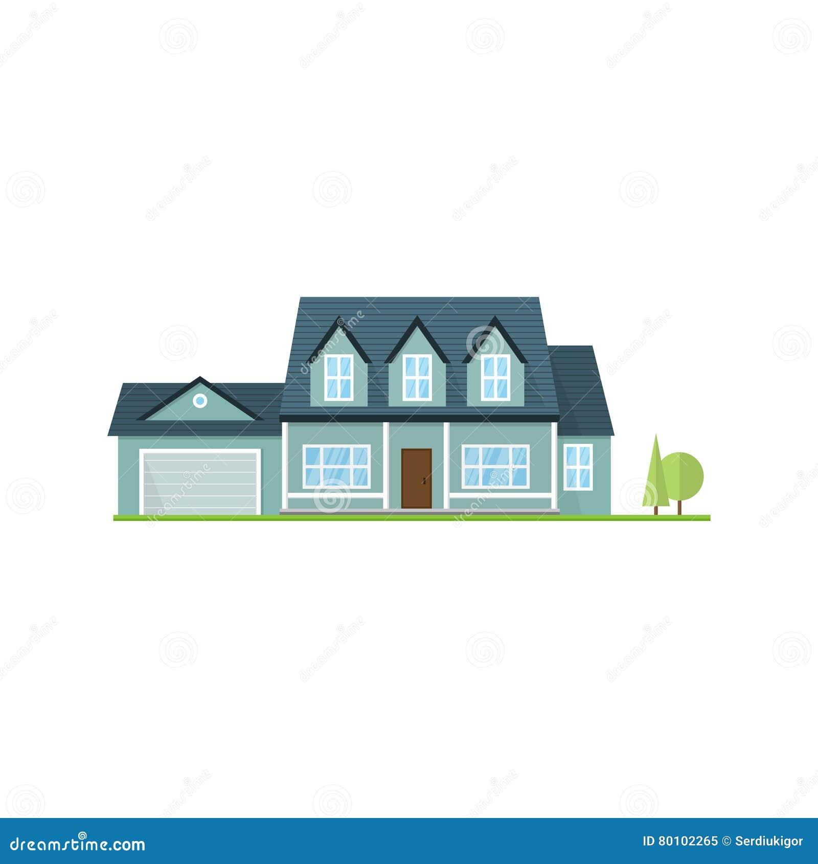 Casa americana suburbana do ícone liso do vetor