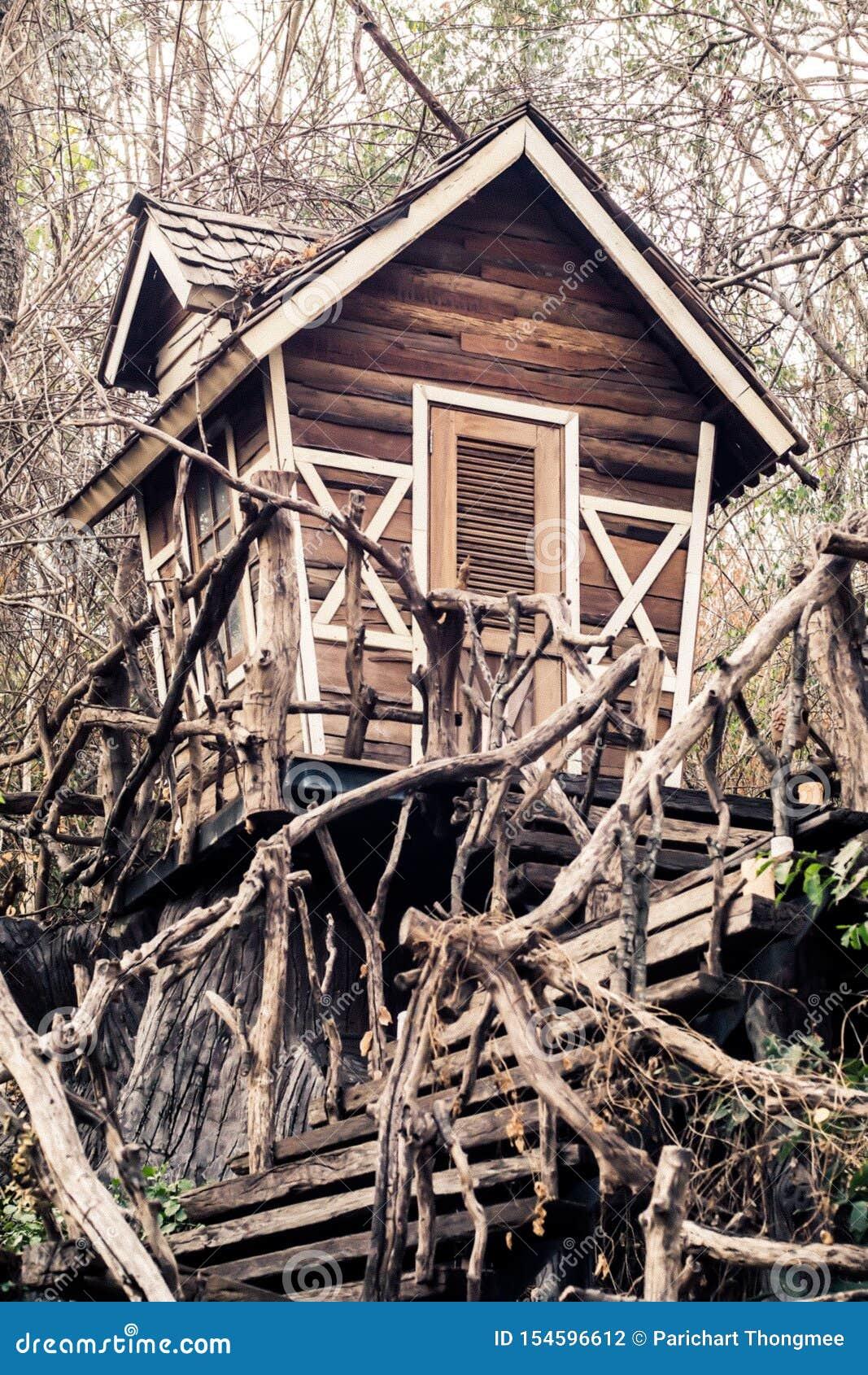 Casa assombrada abandonada no fundo mágico de Dia das Bruxas da floresta