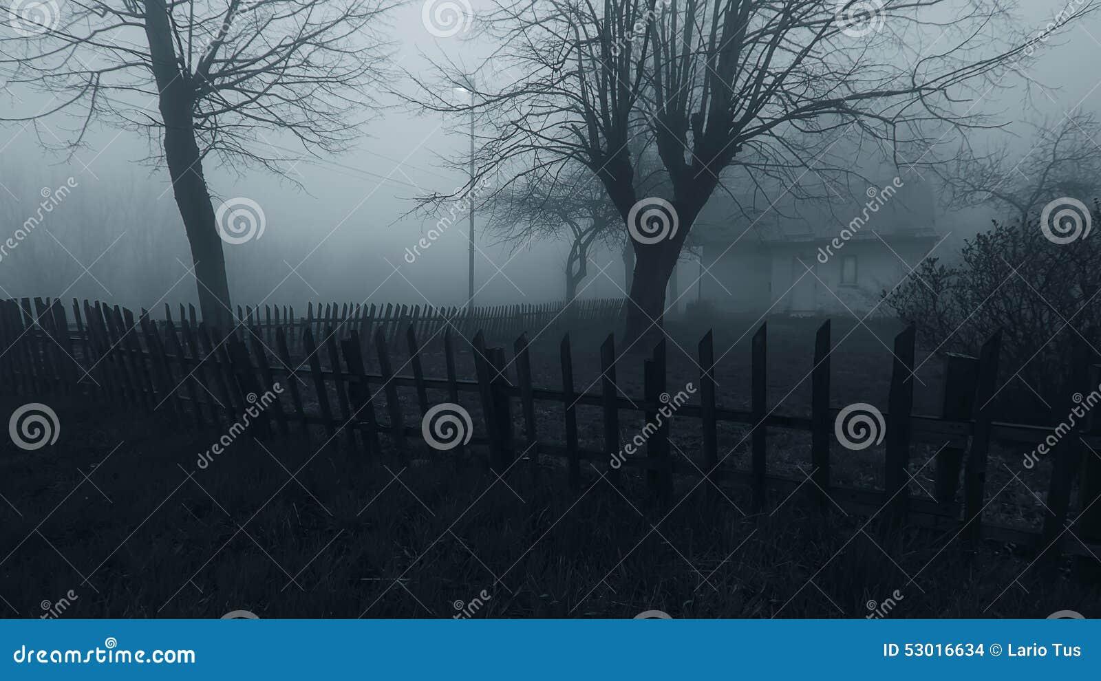 Casa assombrada do horror na névoa