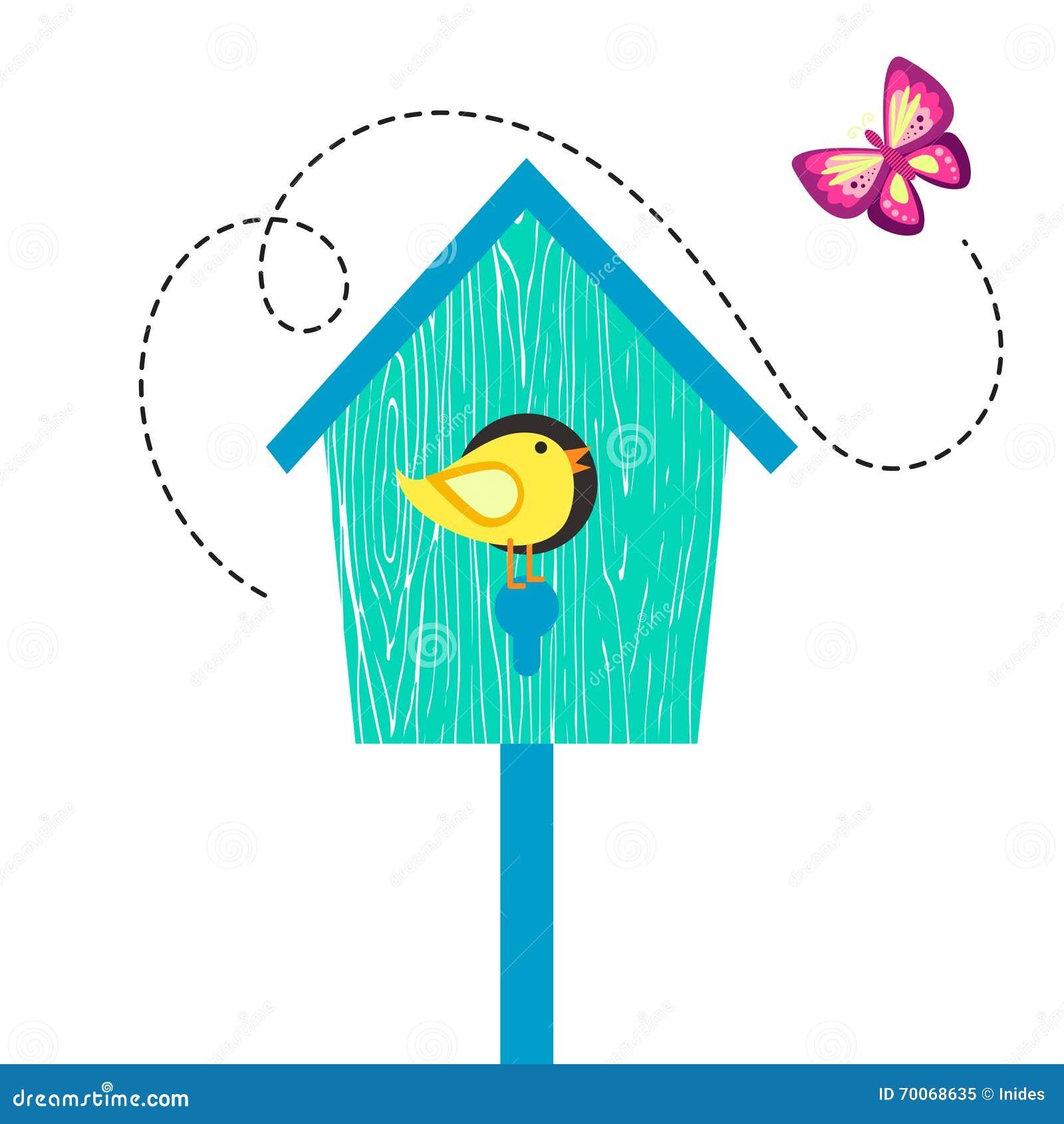 Casa Azul Do Passaro Dos Desenhos Animados Com Passarinho Na Vara