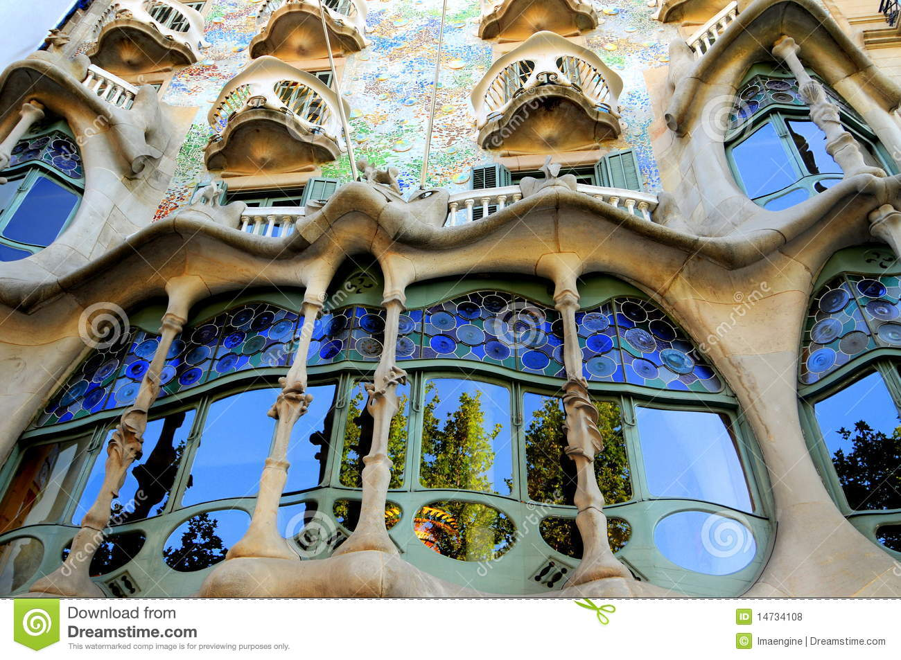 Casa Batllo Facade Spain Barcelona Royalty Free Stock