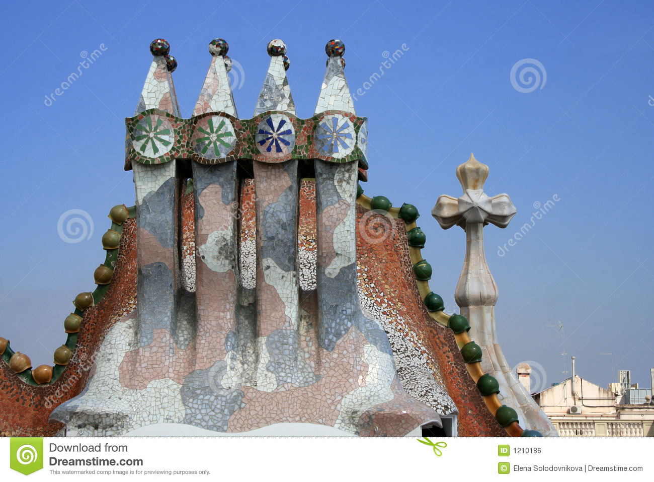 Casa batllo 39 s roof fragment by antoni gaudi stock photo - Fragments bcn ...