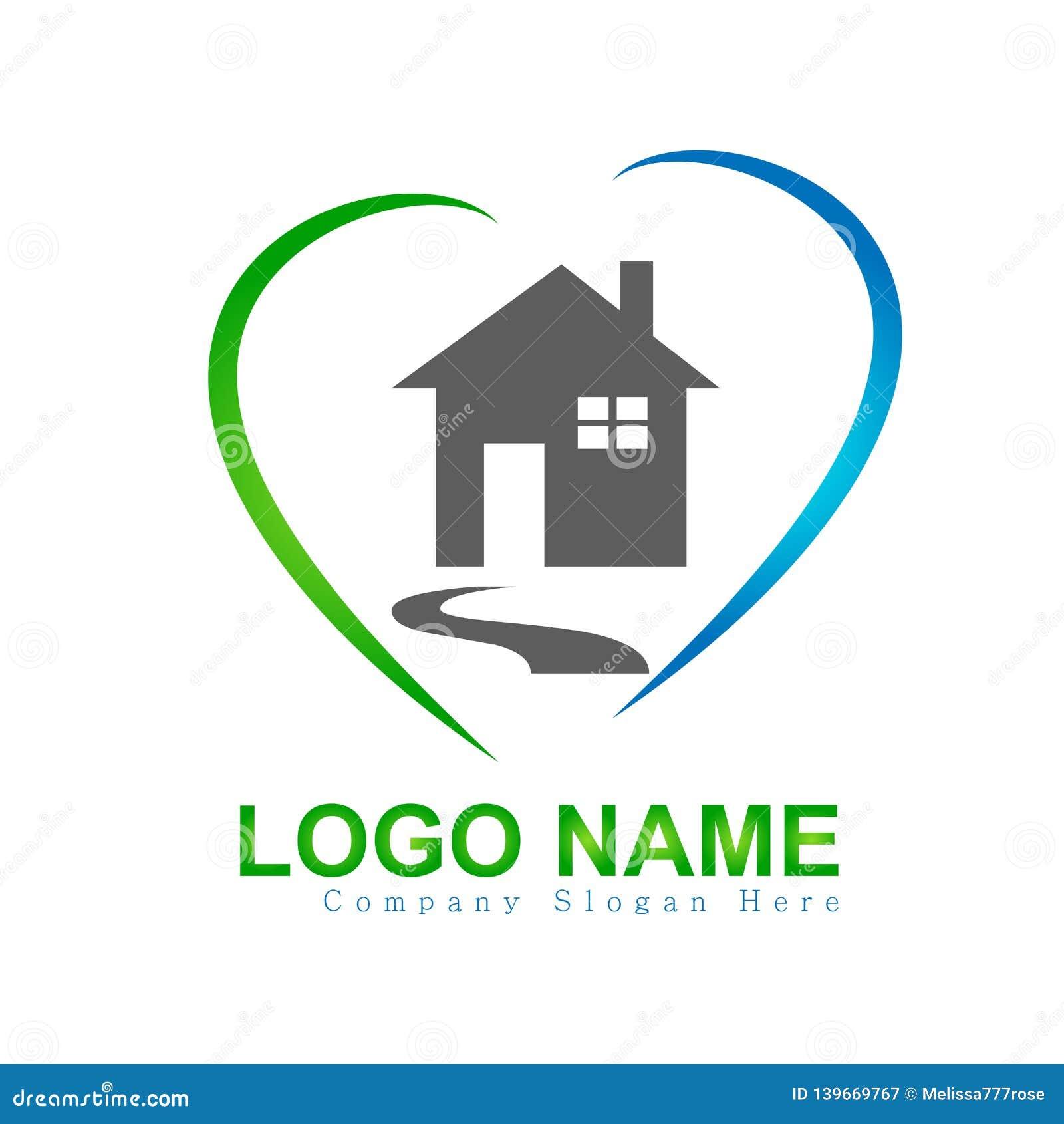 Casa, casa, bens imobiliários, logotipo do amor do coração, ícone da construção da elevação do símbolo da arquitetura para sua em