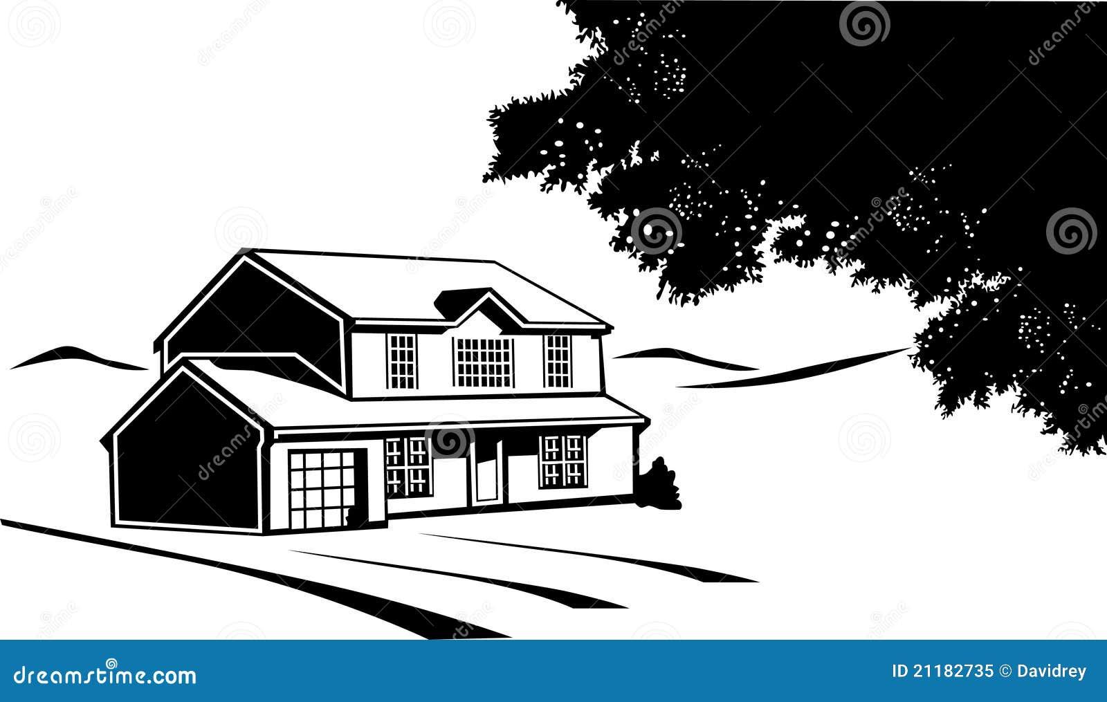 casa bianco e nero su una prateria 21182735