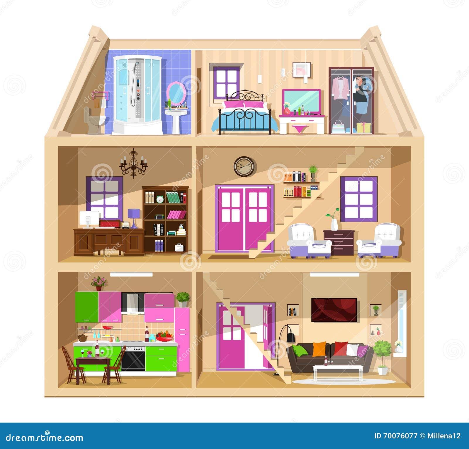 Casa Bonito Grfica Moderna No Corte Interior Colorido Detalhado Da Do Vetor Salas Moda