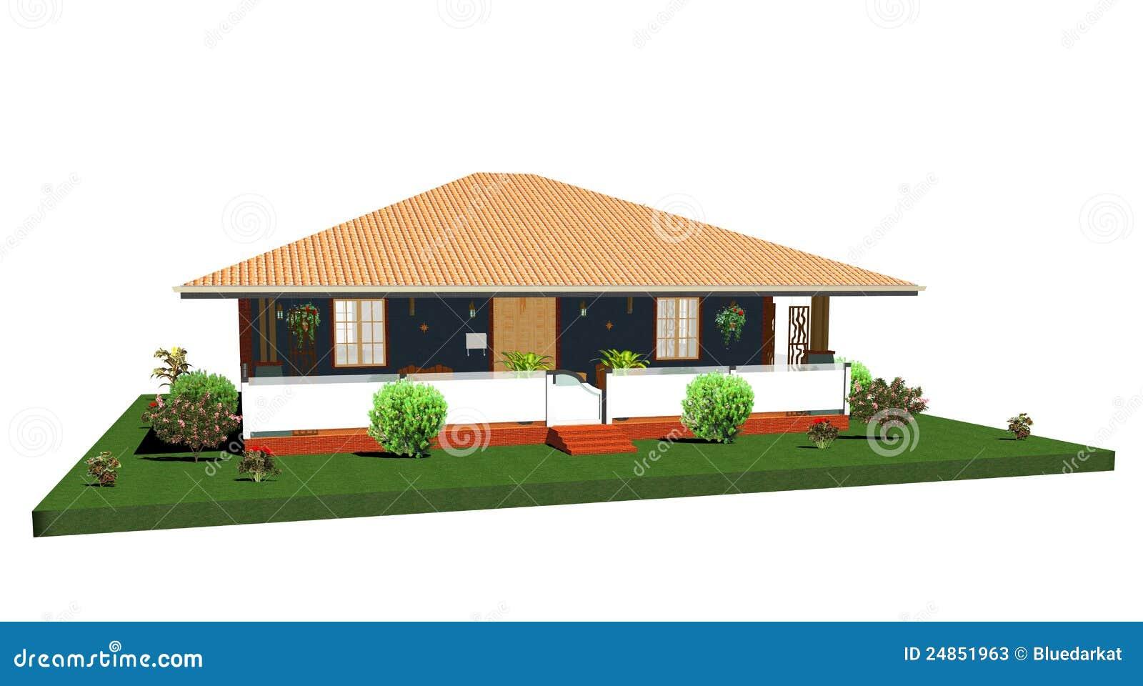 Casa casa de planta baja del verano con porch 3d fotos de for Casa de planta baja