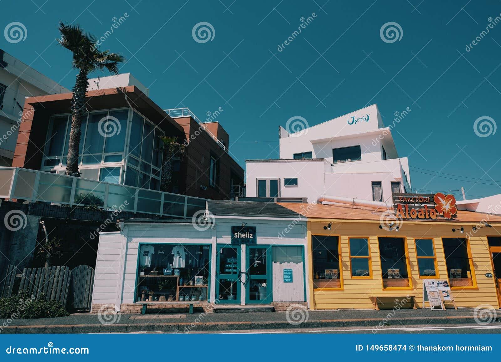 Casa colorida del vintage en la playa de kamakura