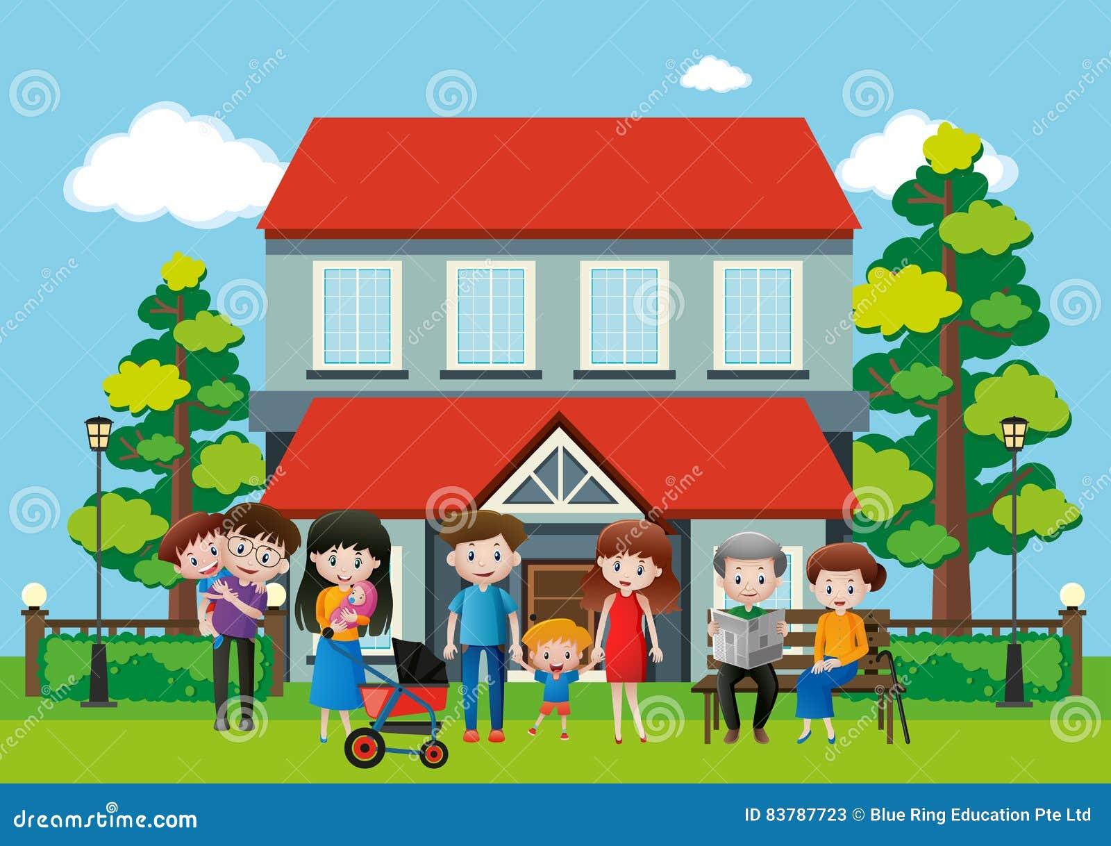 Casa com muitos povos na família
