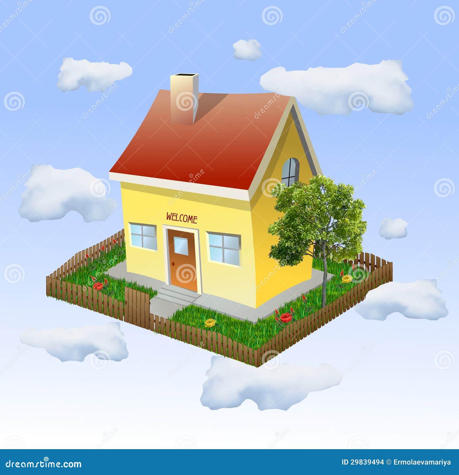 Casa com um jardim nas nuvens. Vetor