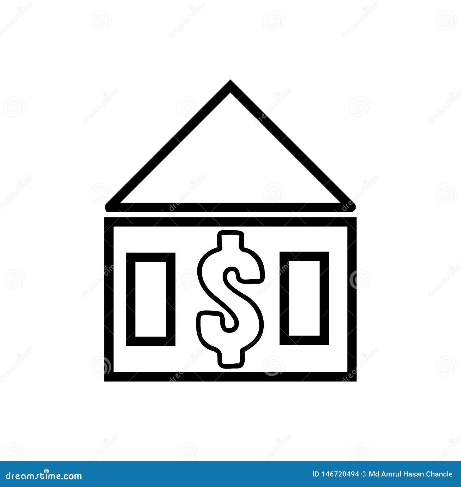 Casa con el icono de la muestra de d?lar