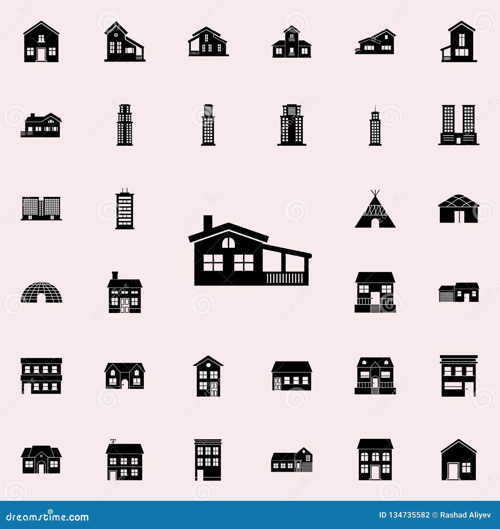 Casa con el icono del mirador contenga el sistema universal de los iconos para el web y el móvil