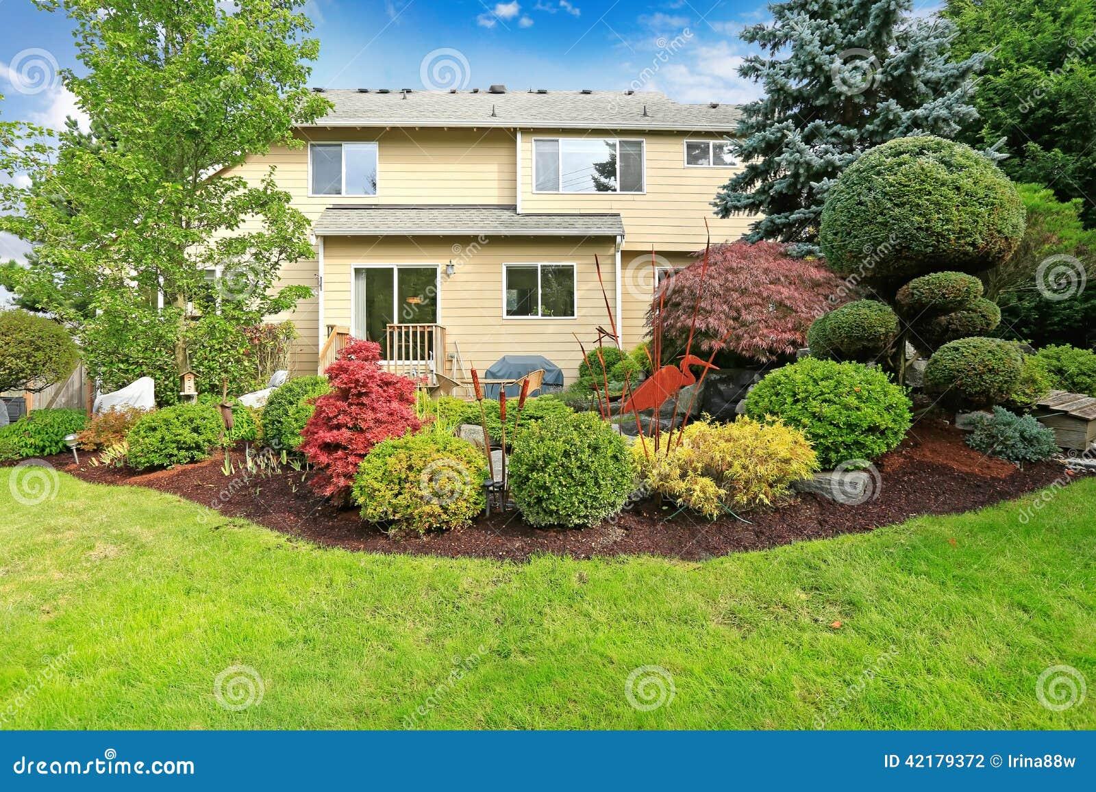 Casa con el jard n y el c sped tropicales del patio for Patios y jardines de casas
