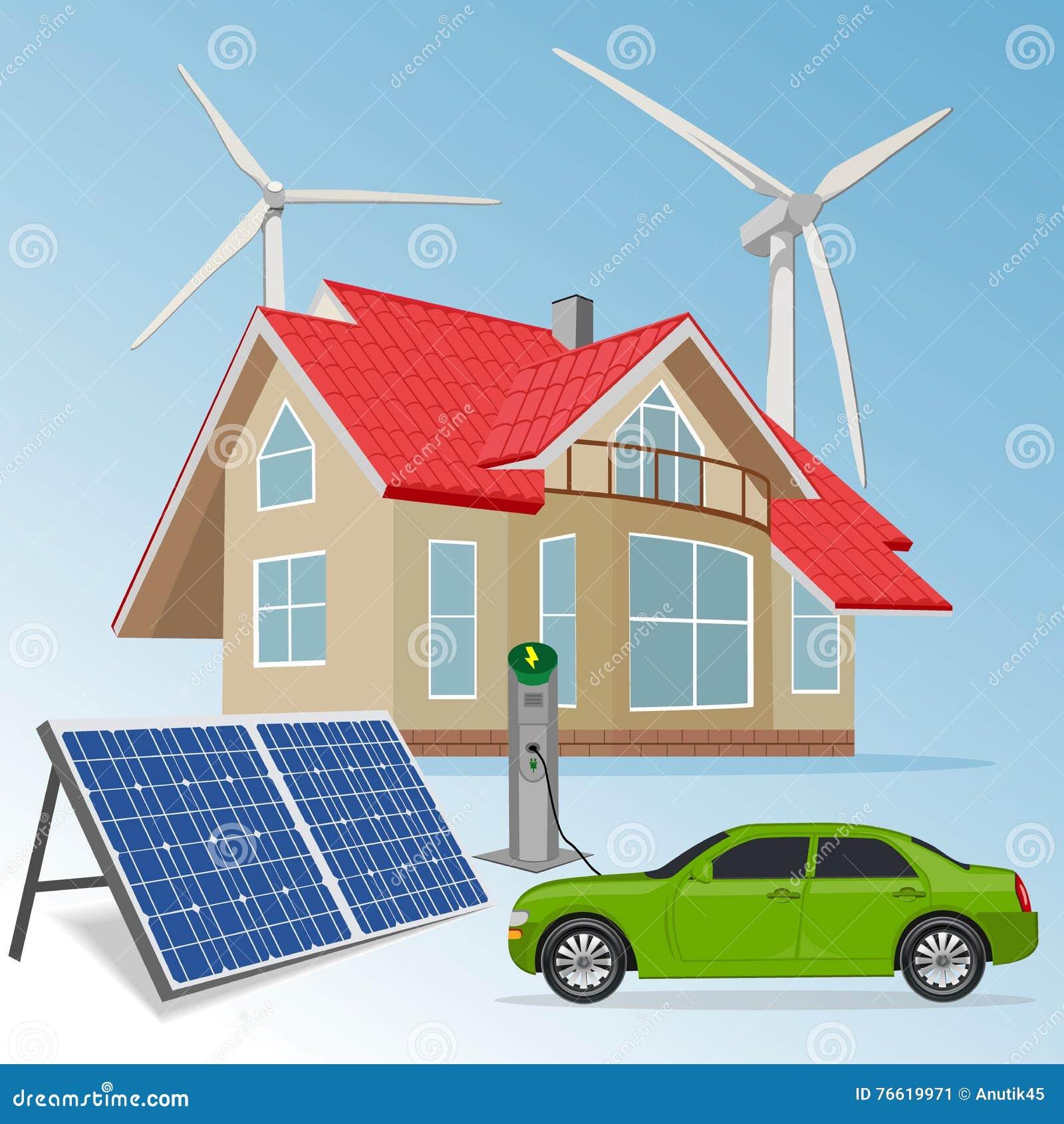 Casa con fuentes de energ a renovable ejemplo del vector - Fotos energias renovables ...