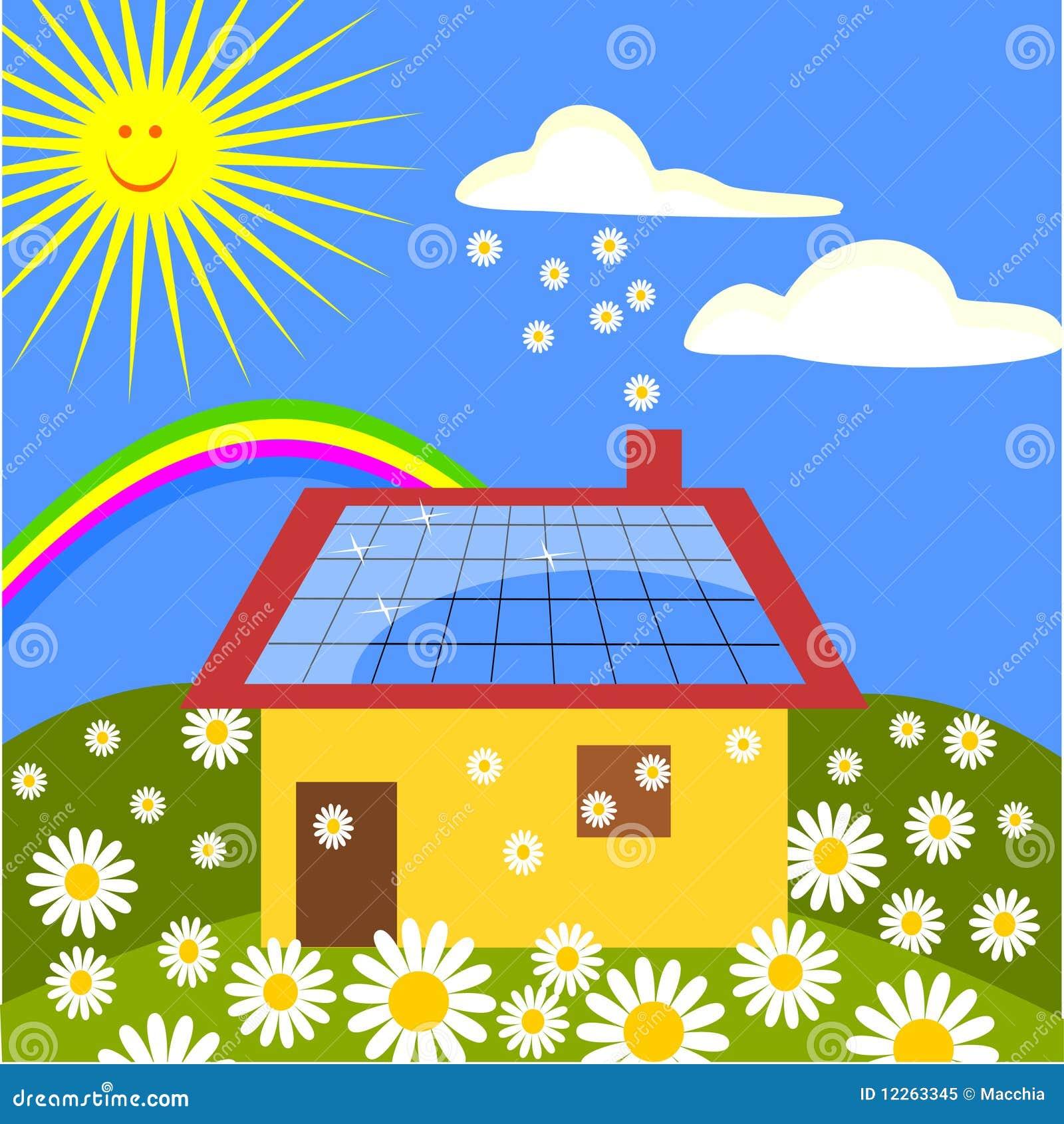 Casa con los paneles solares ilustraci n del vector - Casas con placas solares ...