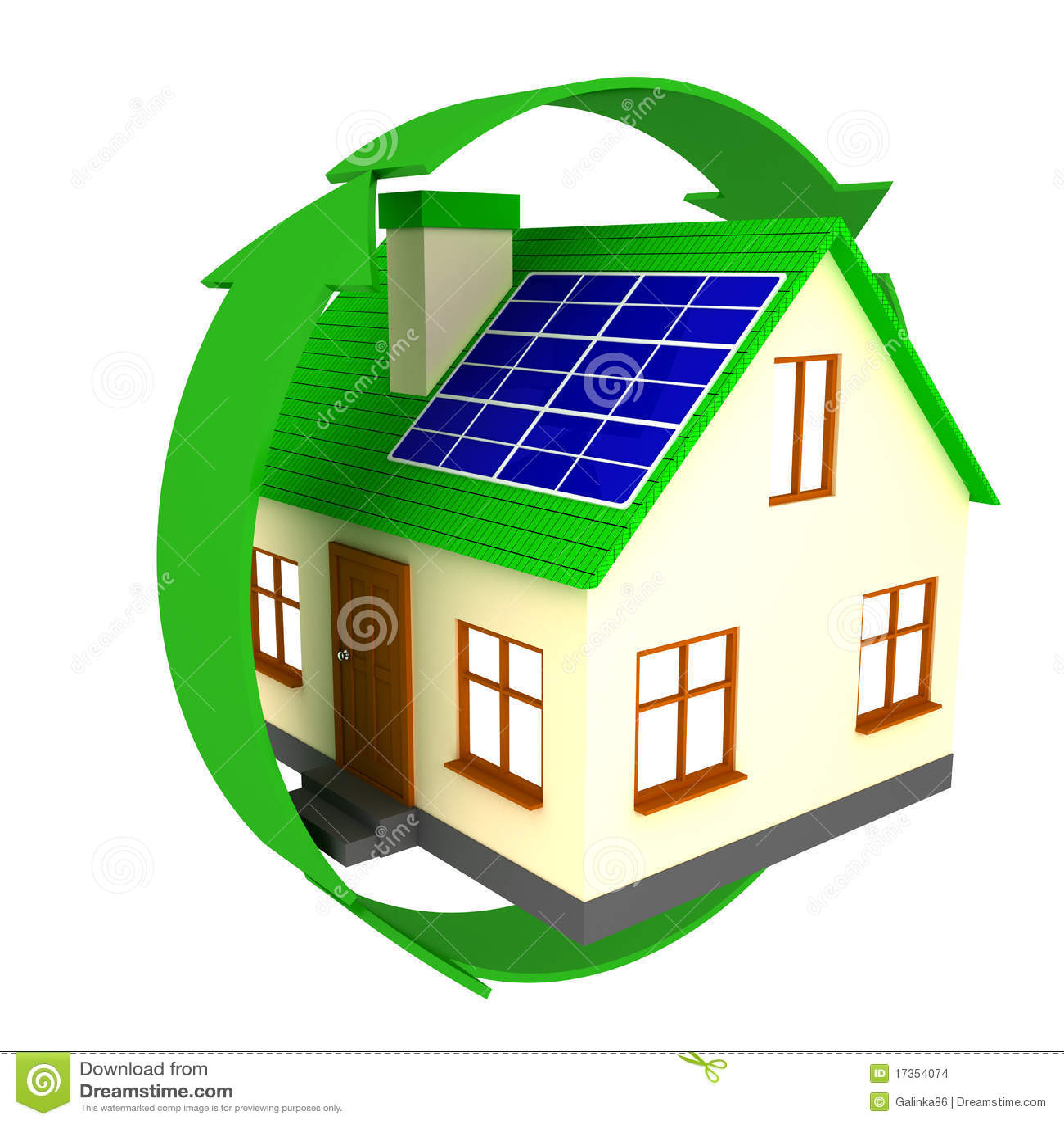 Casa con los paneles solares stock de ilustraci n - Casas con placas solares ...