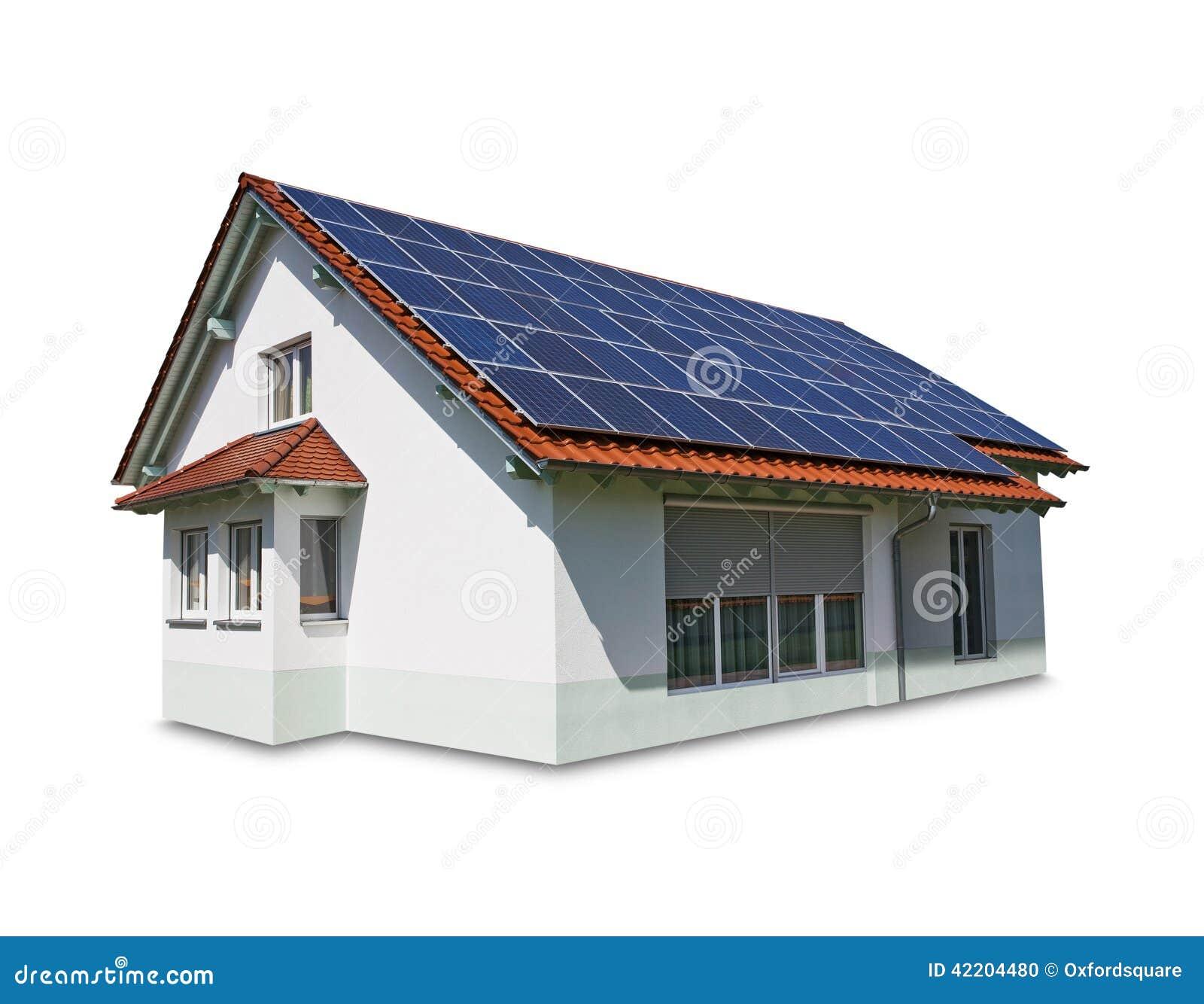 Casa con los paneles solares en la azotea foto de archivo for La casa de la azotea