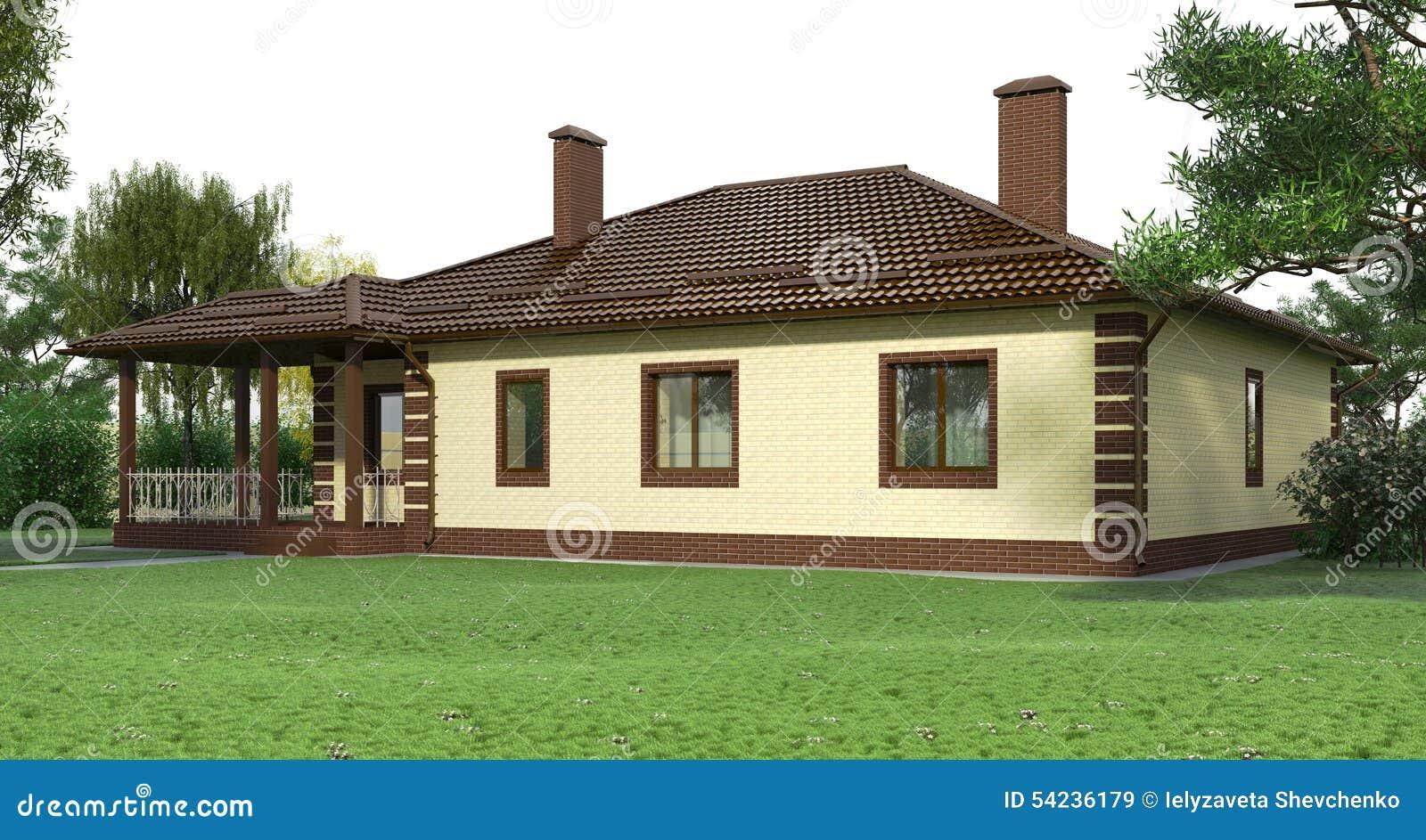 Casa con mattoni a vista con un garden2 illustrazione di for Casa vittoriana in mattoni