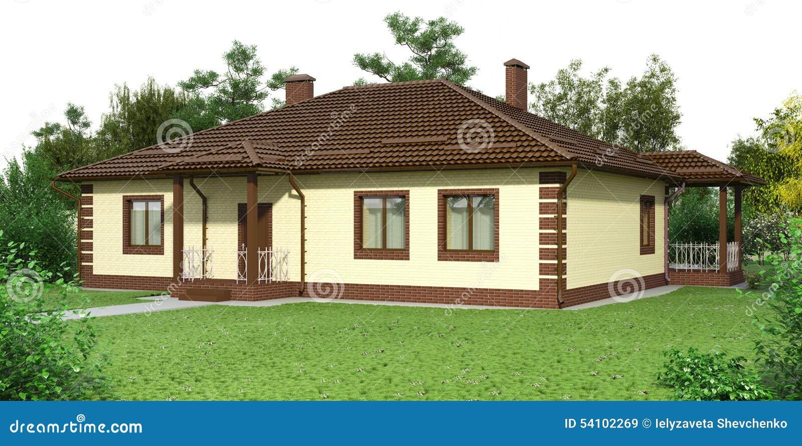 Casa con mattoni a vista con un giardino illustrazione di - Casa con giardino pisa ...