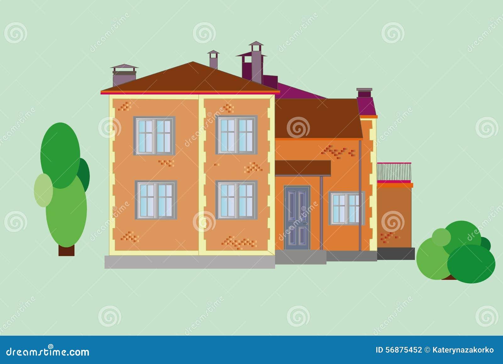 Casa con mattoni a vista di vettore