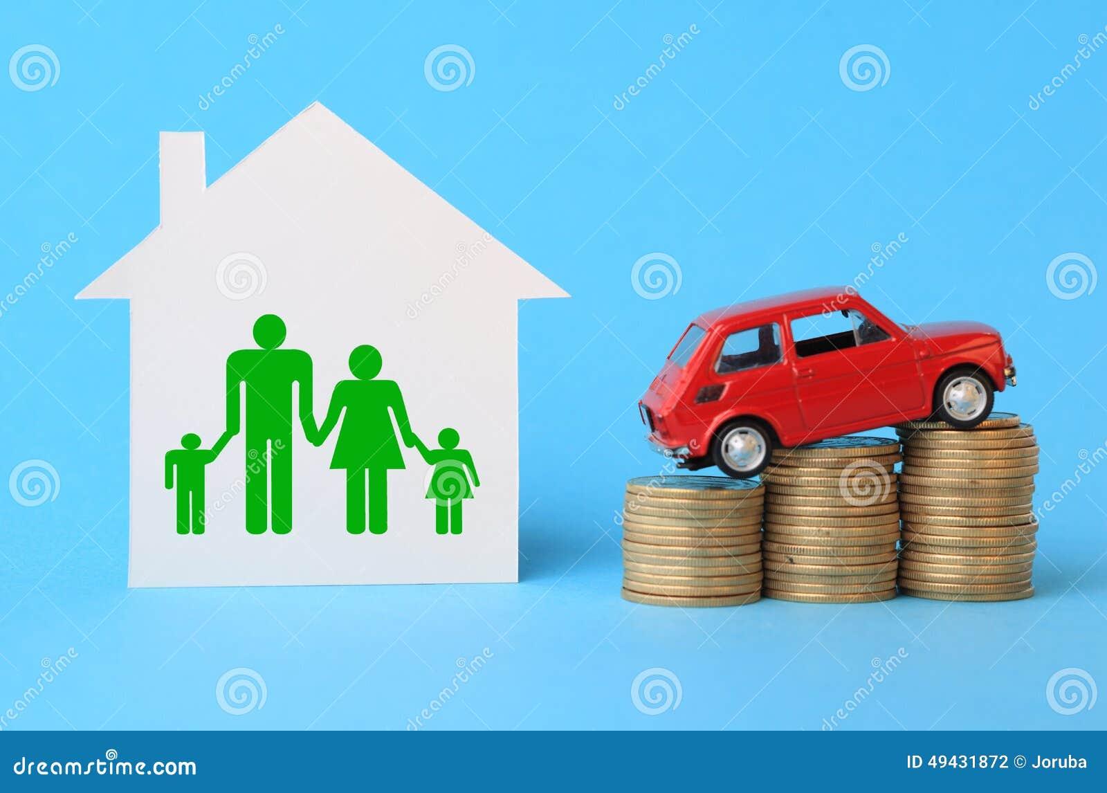 Casa Con Símbolo De La Familia, El Coche Miniatura Y Las Monedas ...