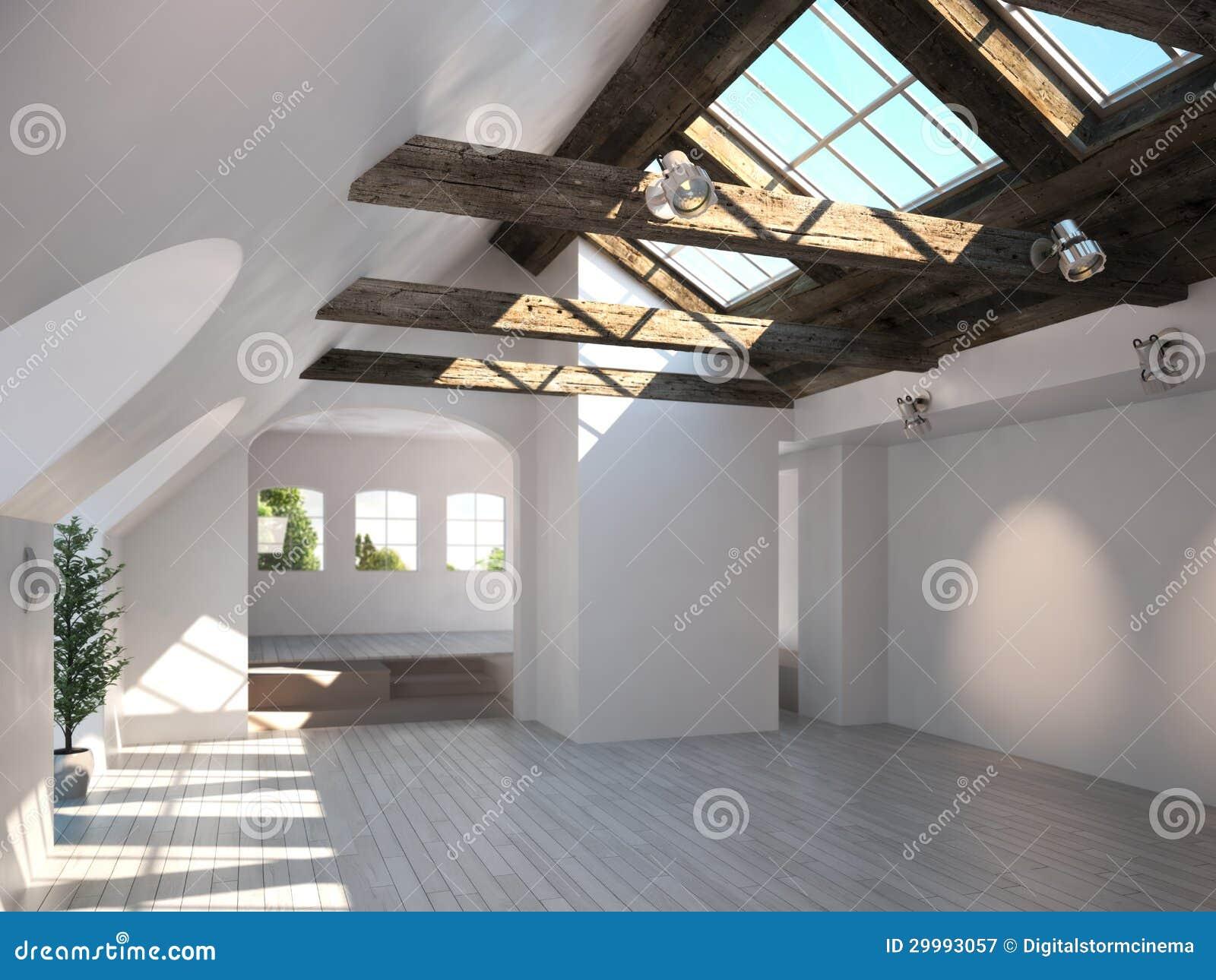 Sala vazia com teto e as clarabóias rústicos da madeira