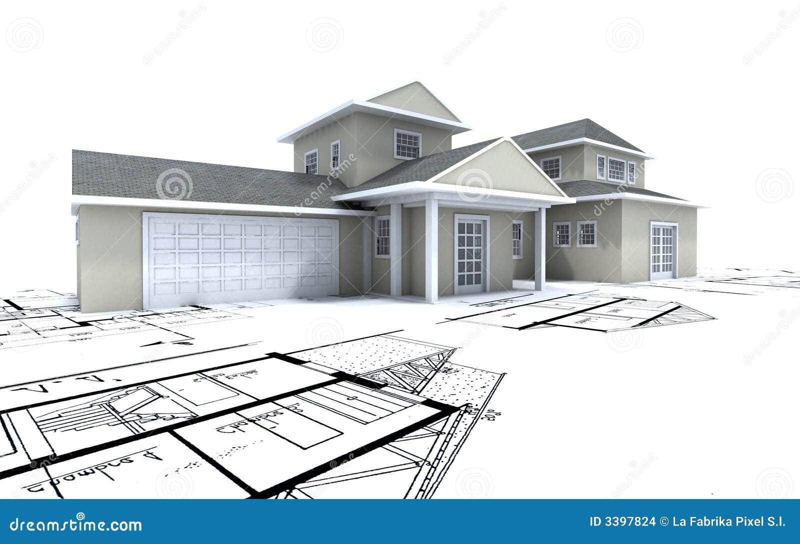 Casa costosa con el garage encendido