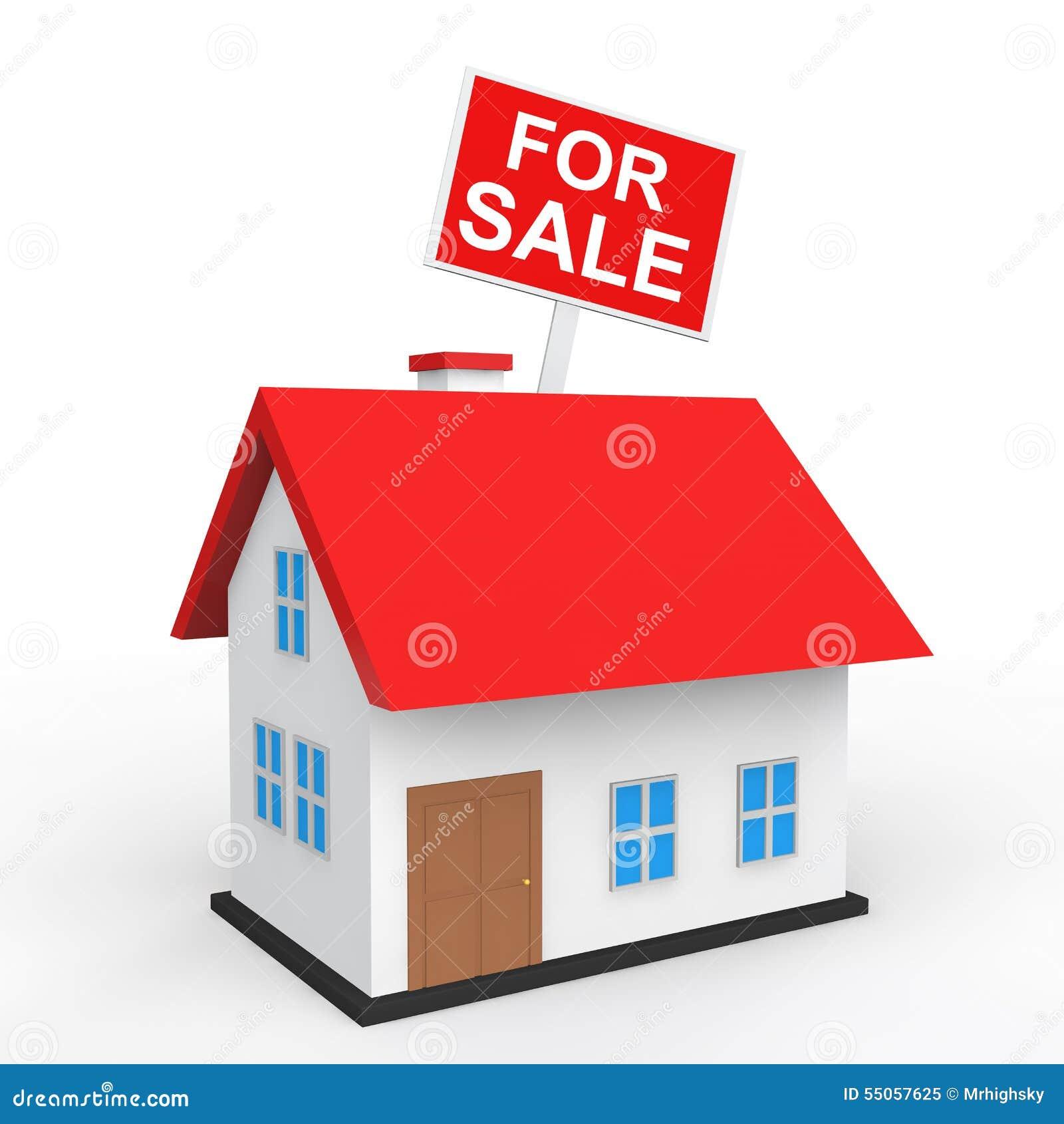 Casa 3d con per il cartello di vendita illustrazione di for Casa di vendita di design