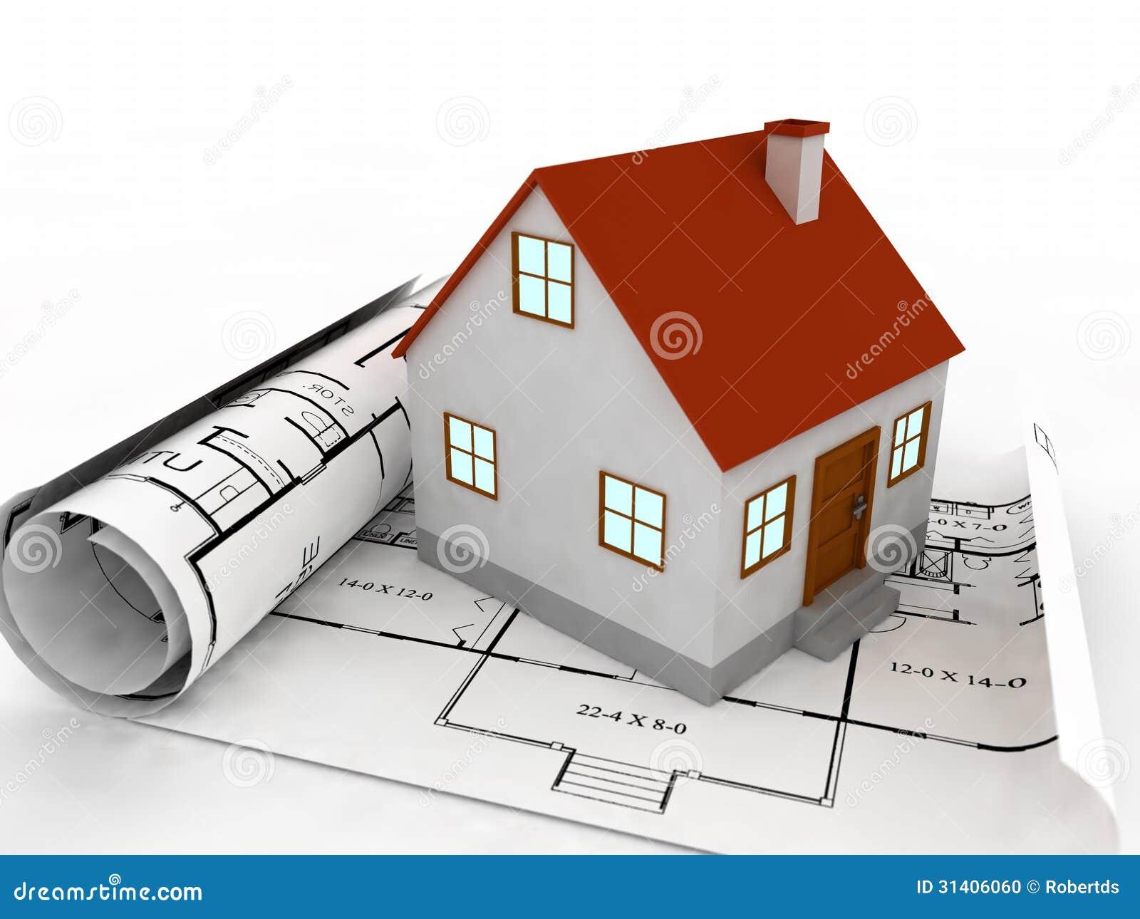 Progettazione Casa 3d : Casa d sui piani di progetto illustrazione di stock