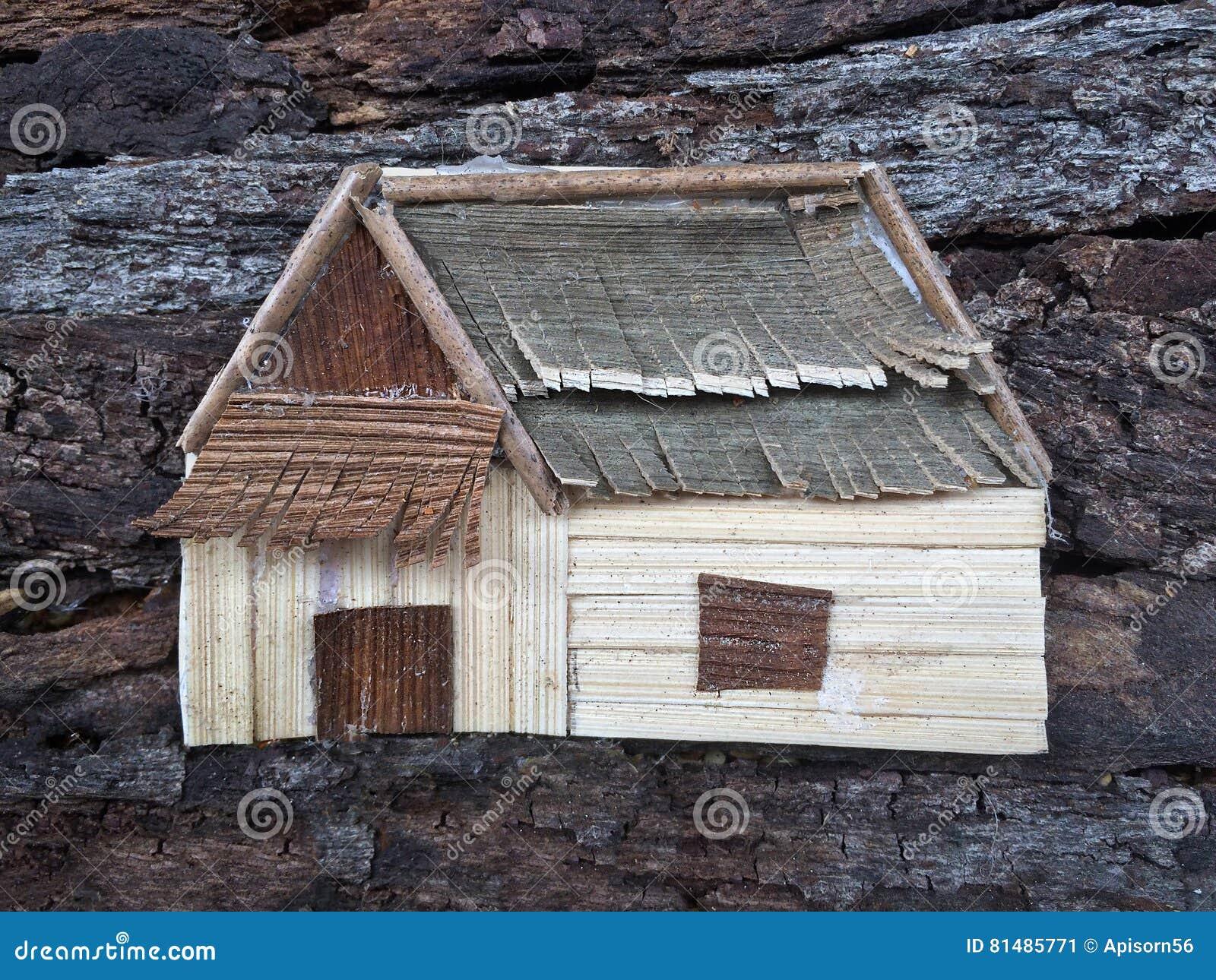 Casa da arte da colagem realística Ofício de madeira natural criativo