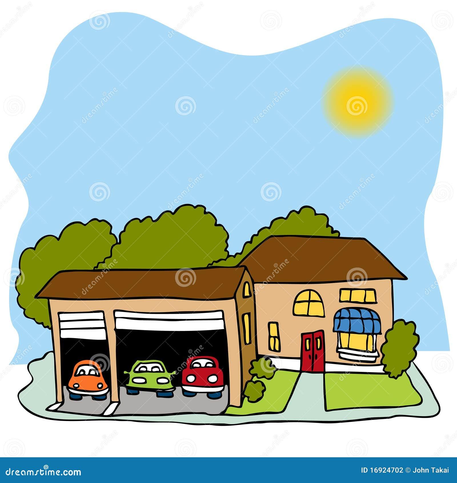 Casa Da Garagem De Tr 234 S Carros Ilustra 231 227 O Do Vetor