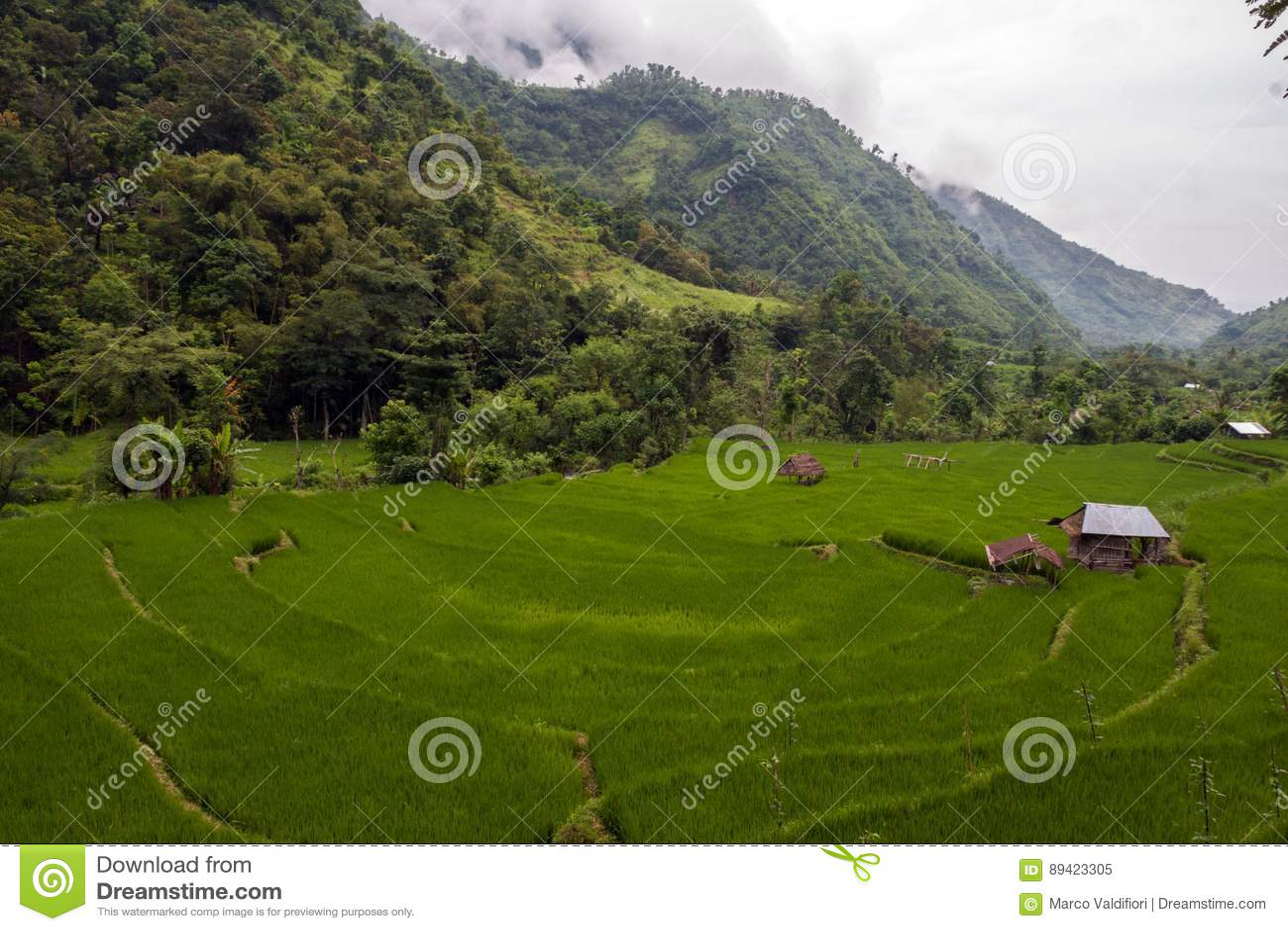 Casa da palha na aldeia da montanha