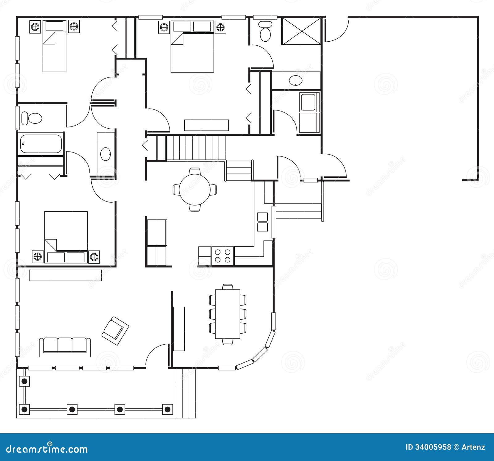 Casa da planta baixa fotos de stock royalty free imagem 34005958 - Lay outs rond het huis ...
