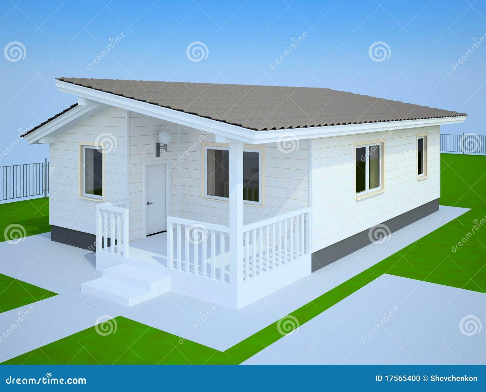 Casa de campo branca pequena ilustra o stock ilustra o de cerca grama 17565400 - Modelos de casas de campo pequenas ...