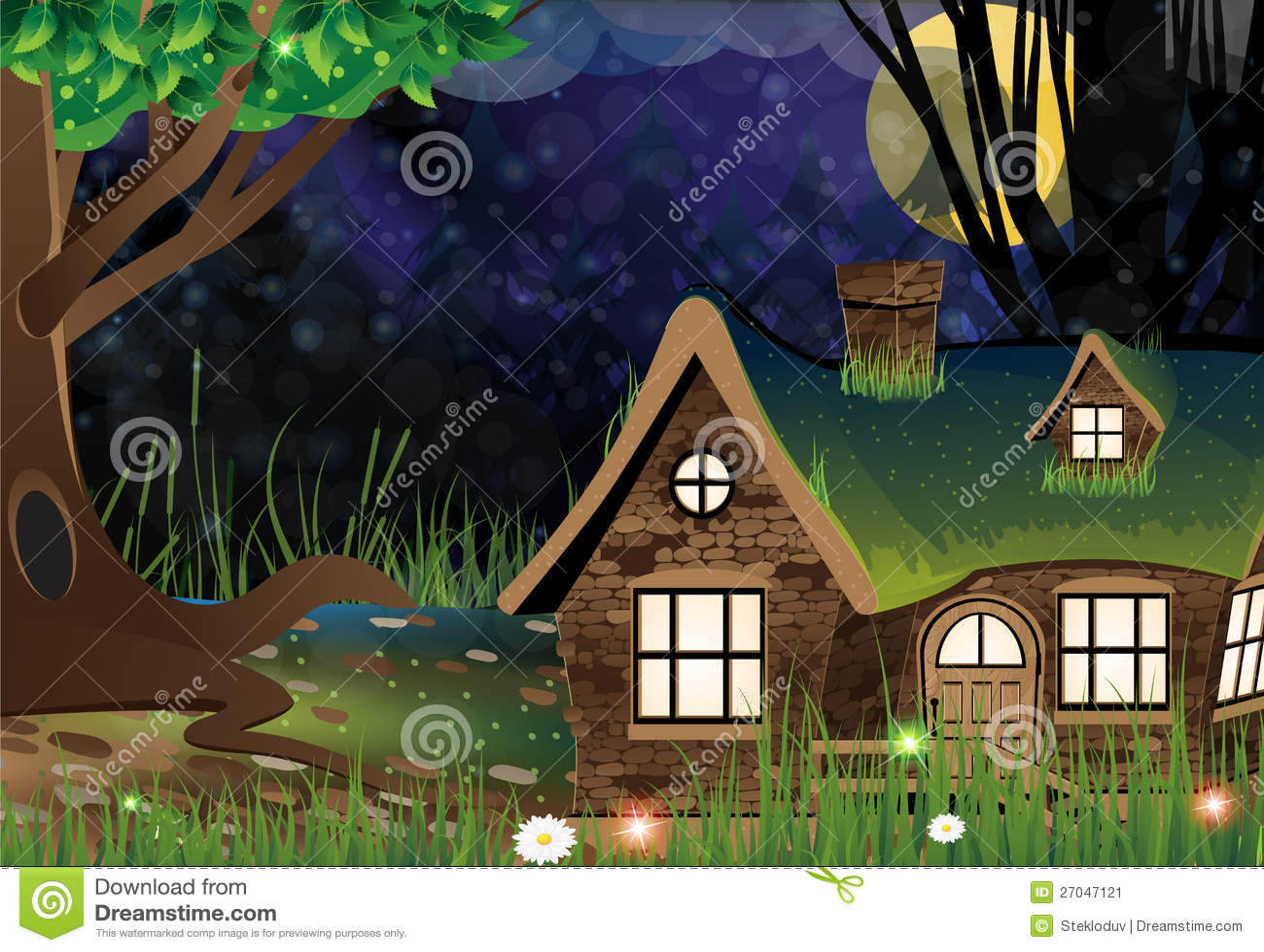 Casa de campo del bosque de hadas imagen de archivo - Casas el bosque ...